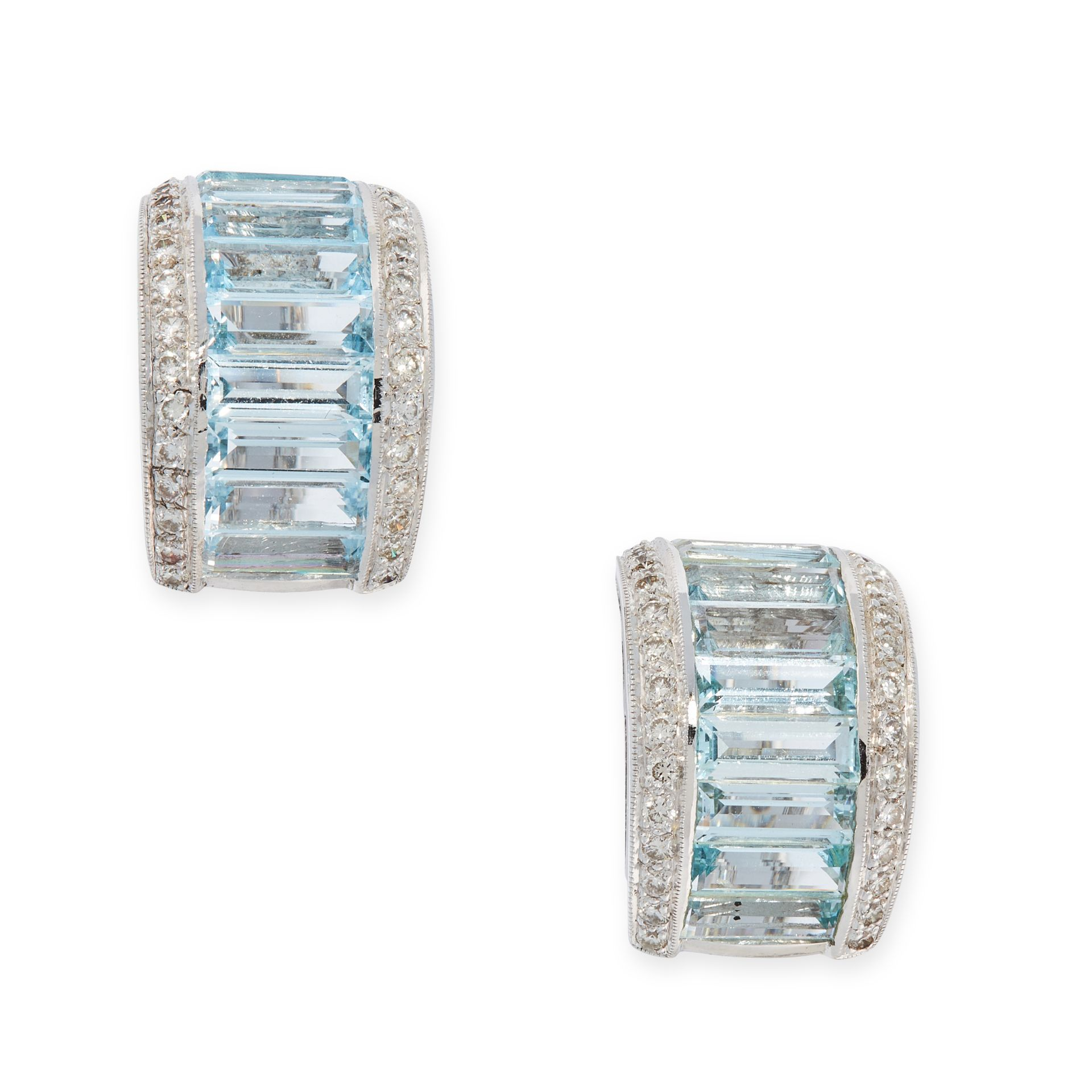 A PAIR OF AQUAMARINE AND DIAMOND EARRINGS each formed as a half hoop, set with rows of step cut