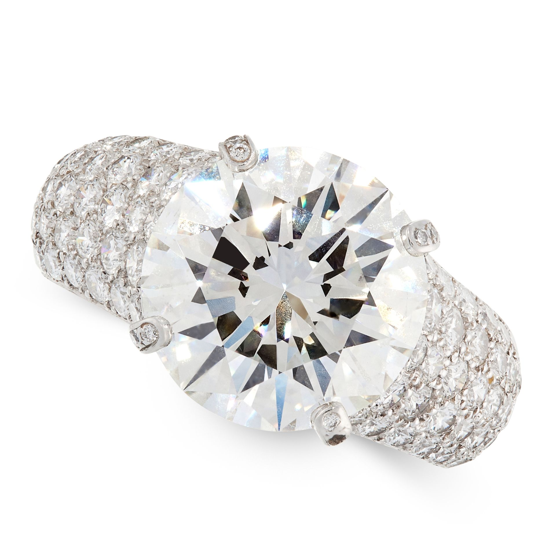 AN IMPORTANT 6.36 CARAT SOLITAIRE DIAMOND RING, CARTIER in platinum, set with a round cut diamond of