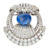 A BURMA NO HEAT SAPPHIRE AND DIAMOND BROOCH, CIRCA 1940 set with an oval cabochon blue sapphire of