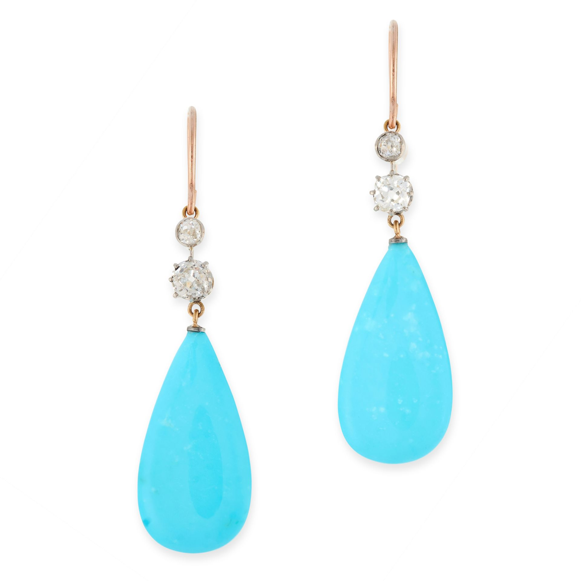 A PAIR OF ANTIQUE TURQUOISE AND DIAMOND EARRINGS in high carat yellow gold, each set with a polished