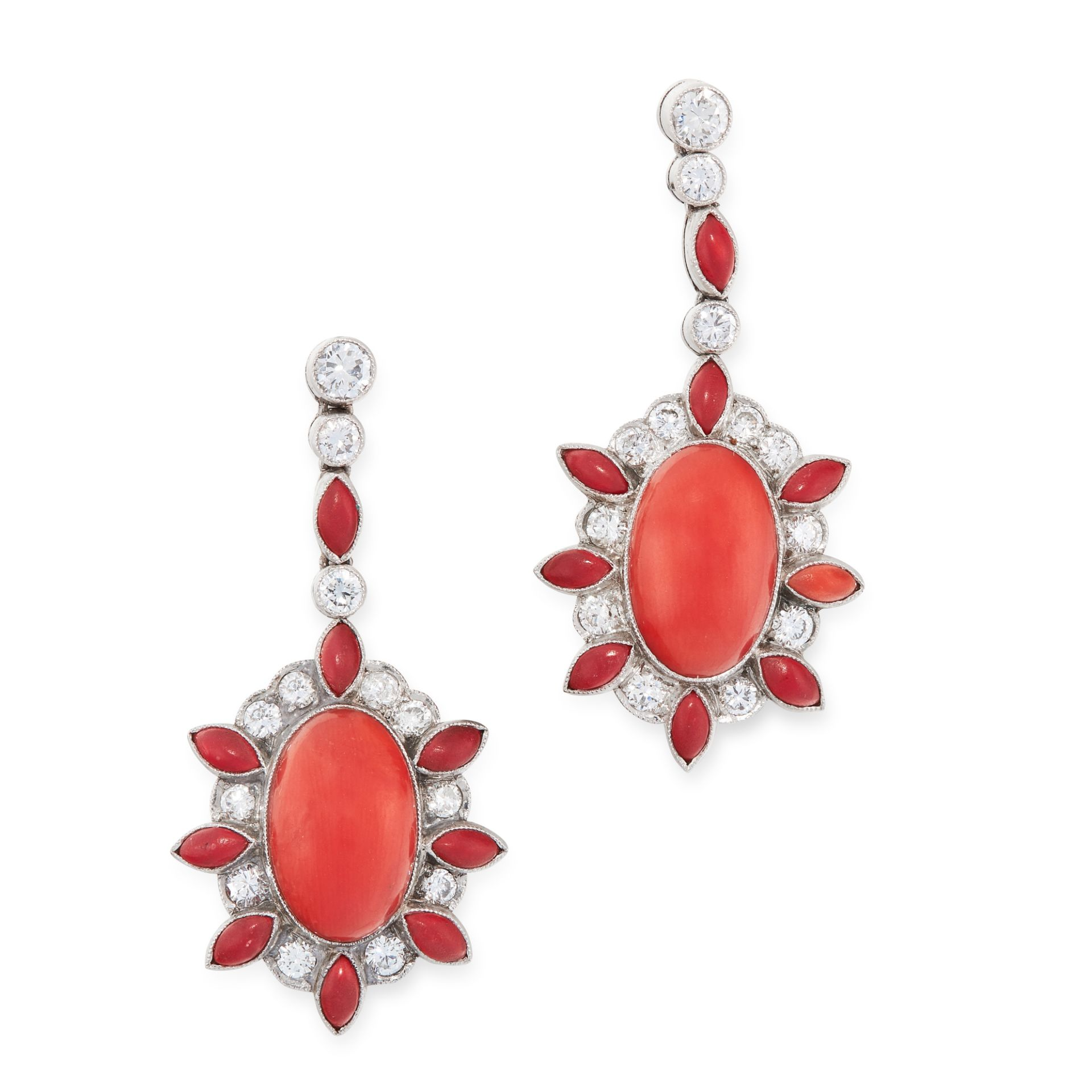 A PAIR OF ART DECO CORAL AND DIAMOND EARRINGS in platinum, each set with an oval cabochon coral,
