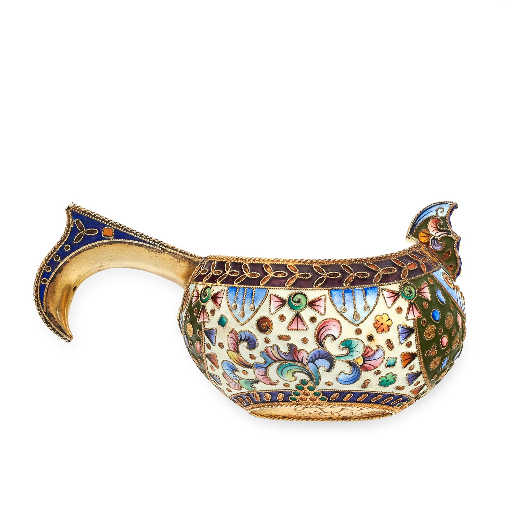 AN ANTIQUE IMPERIAL RUSSIAN ENAMEL KOVSH, MOSCOW 1908-17 in 84 zolotnik silver, the body decorated