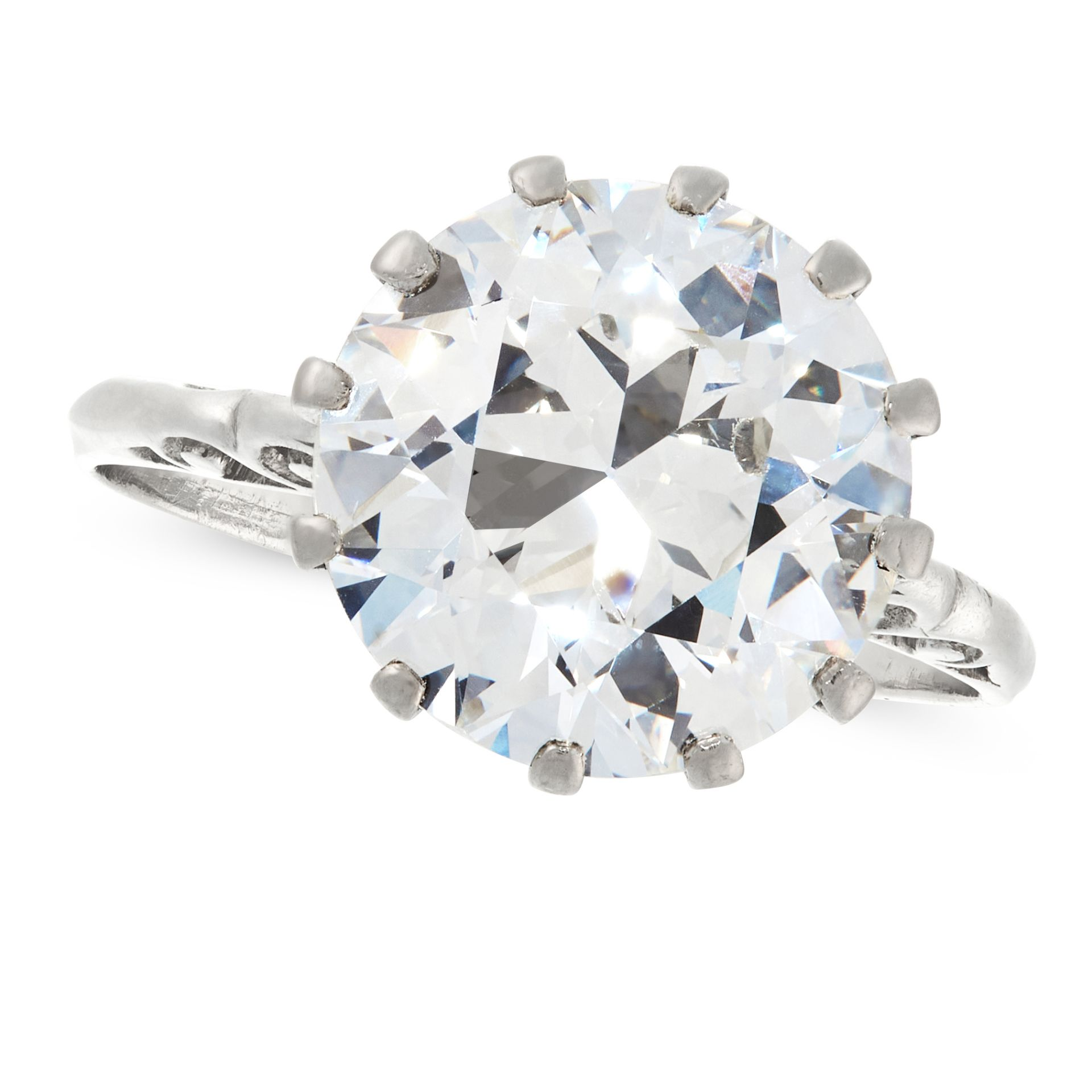 A 5.34 CARAT SOLITAIRE DIAMOND RING the old European cut diamond of 5.34 carats, claw set within a