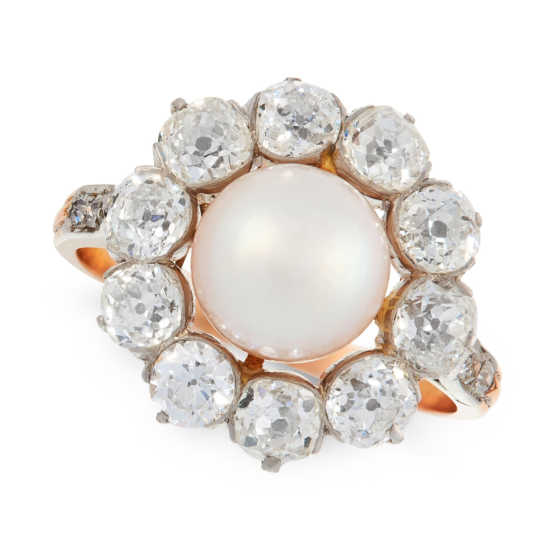 A NATURAL PEARL AND DIAMOND DRESS RING, EARLY 20TH CENTURY in 18ct yellow gold and platinum, set