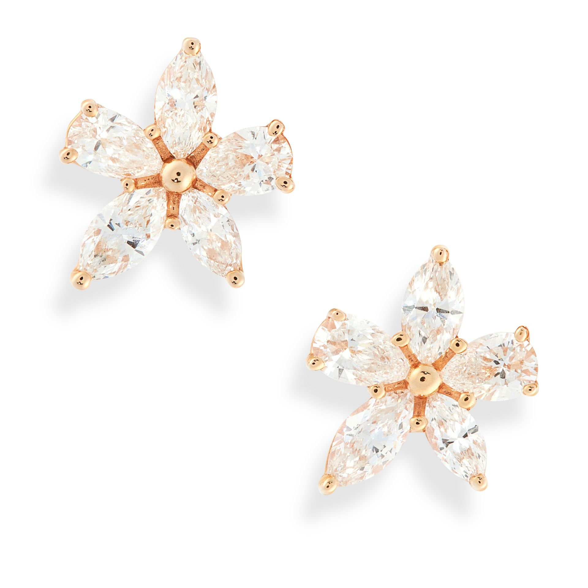 A PAIR OF VICTORIA DIAMOND MIXED CLUSTER EARRINGS, TIFFANY & CO in 18ct yellow gold, set with pear