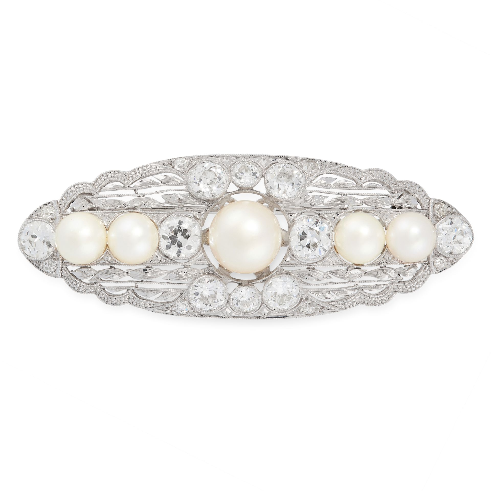 A PEARL AND DIAMOND BROOCH, EARLY 20TH CENTURY the oval body set with five graduated pearls