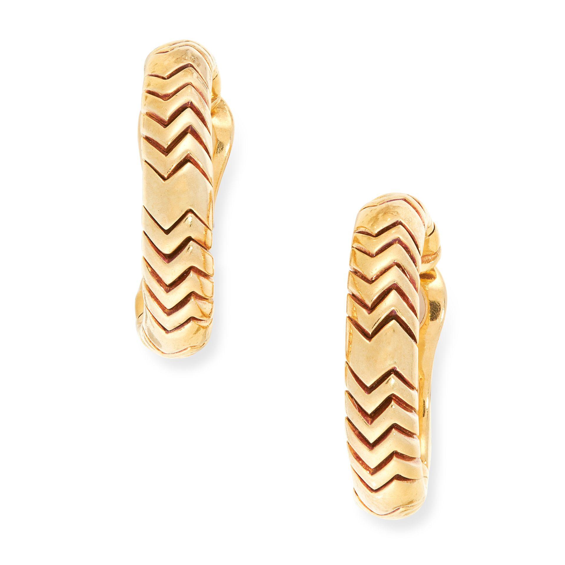 A PAIR OF SPIGA CLIP EARRINGS, BULGARI in 18ct yellow gold, each designed as a hoop, signed Bvlgari,