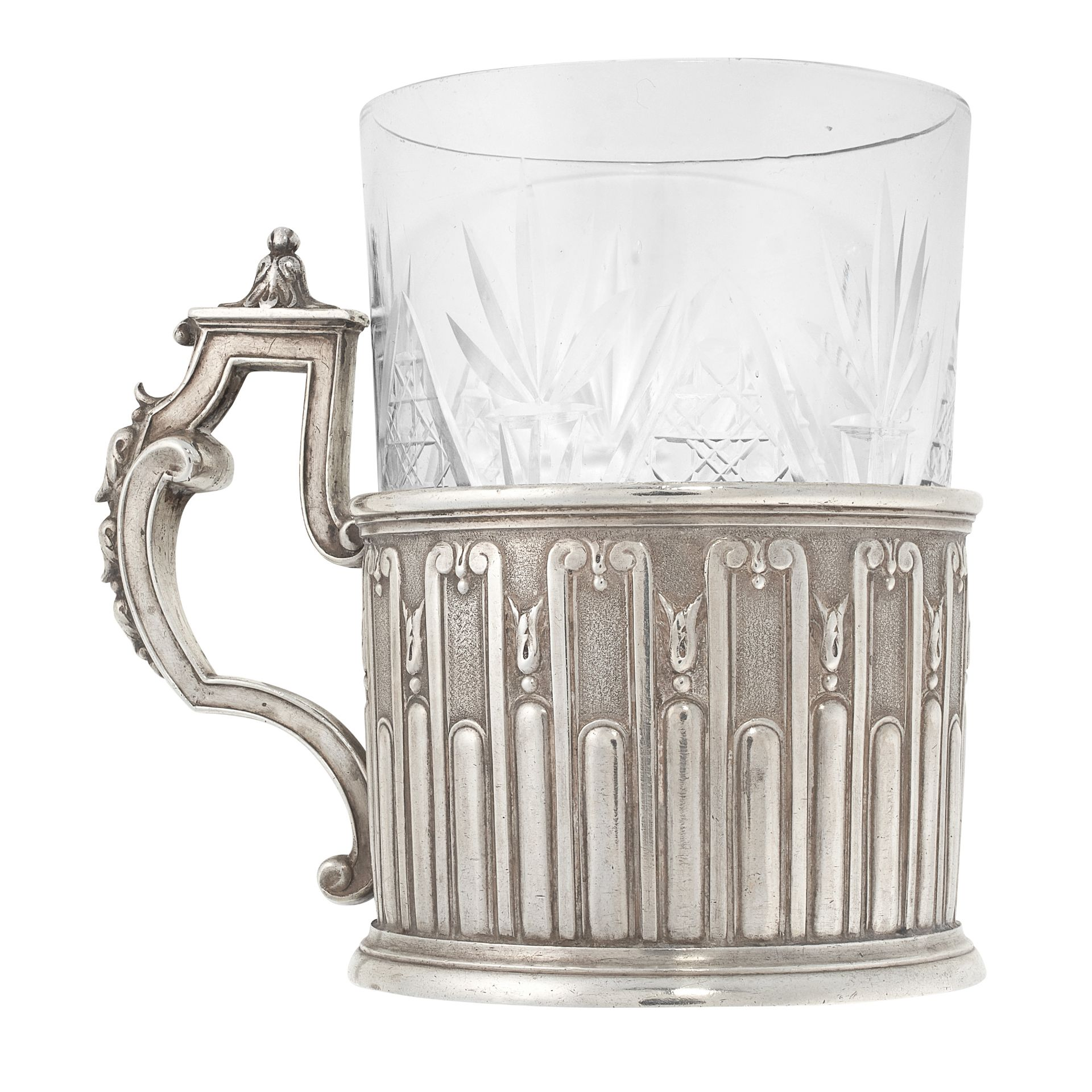 AN ANTIQUE IMPERIAL RUSSIAN TEA GLASS HOLDER, FABERGE MOSCOW CIRCA 1900 in 84 zolotnik silver, the