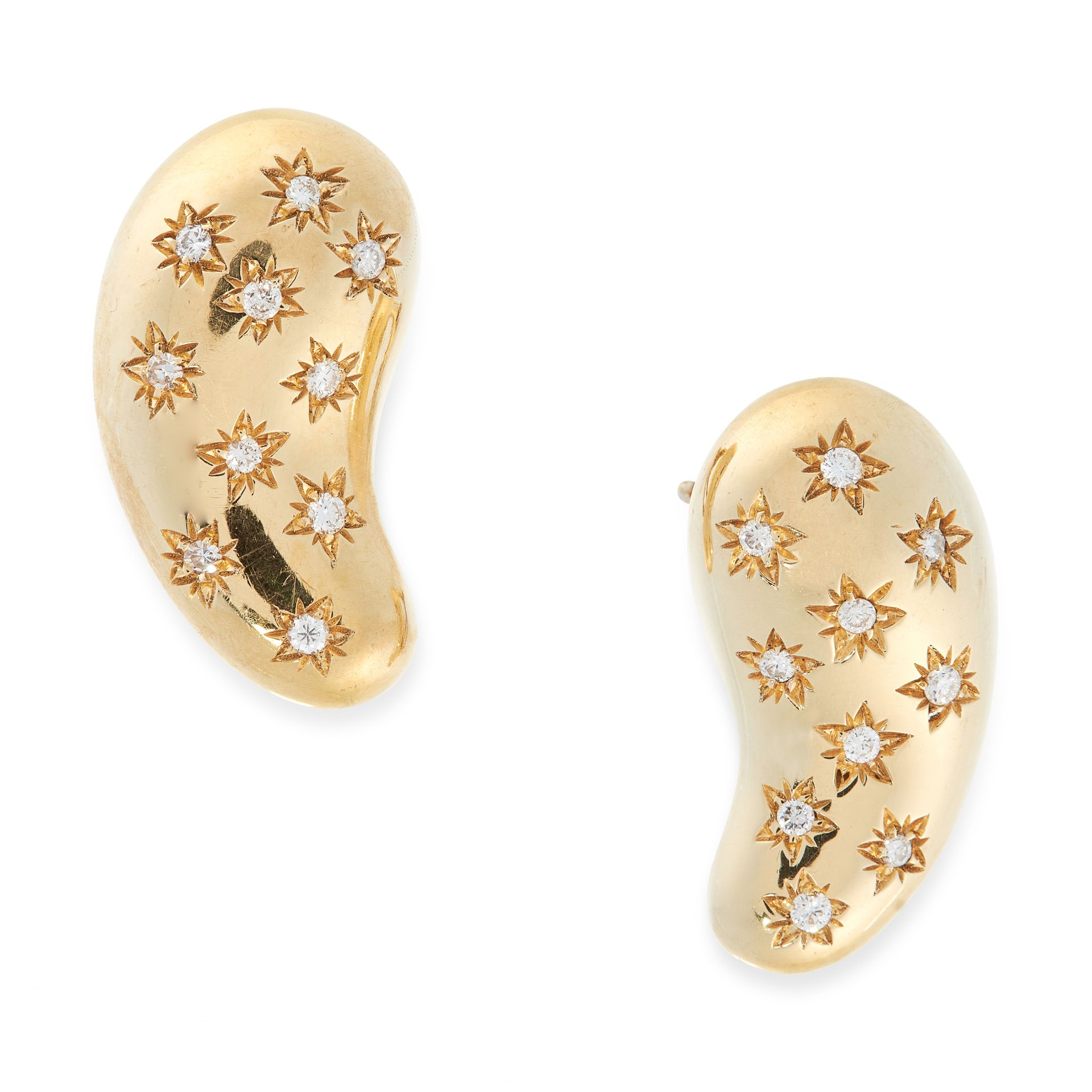 A PAIR OF DIAMOND BEAN CLIP EARRINGS, ELSA PERETTI FOR TIFFANY & CO in 18ct yellow gold, designed as
