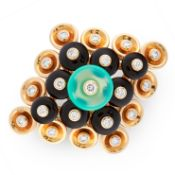 A CHRYSOPRASE, ONYX AND DIAMOND BOUTON D'OR RING, VAN CLEEF & ARPELS in 18ct yellow gold, the
