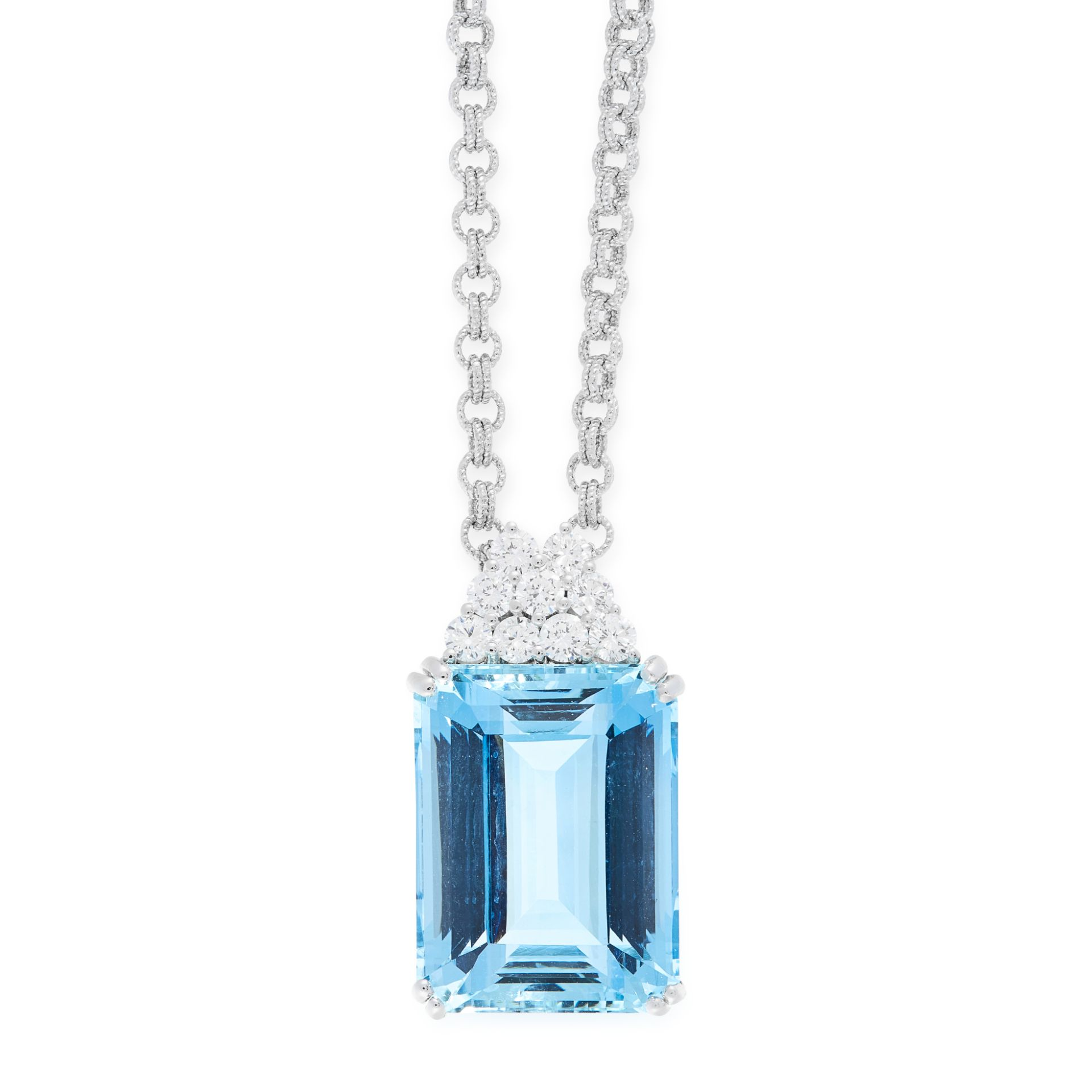 AN AQUAMARINE AND DIAMOND PENDANT AND CHAIN in 18ct white gold, set with an emerald cut aquamarine