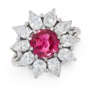A BURMA NO HEAT RUBY AND DIAMOND RING in 18ct white gold, set with a central cushion cut ruby of 2.0