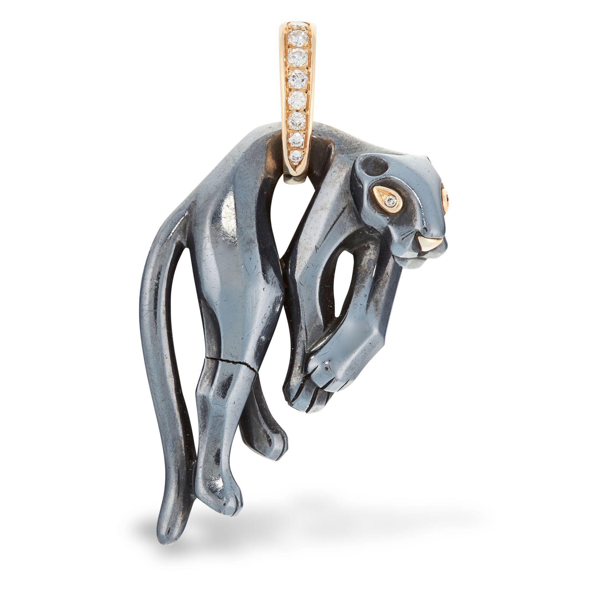 A DIAMOND PANTHERE PENDANT, CARTIER in 18ct yellow gold and silver, designed as a hanging panther