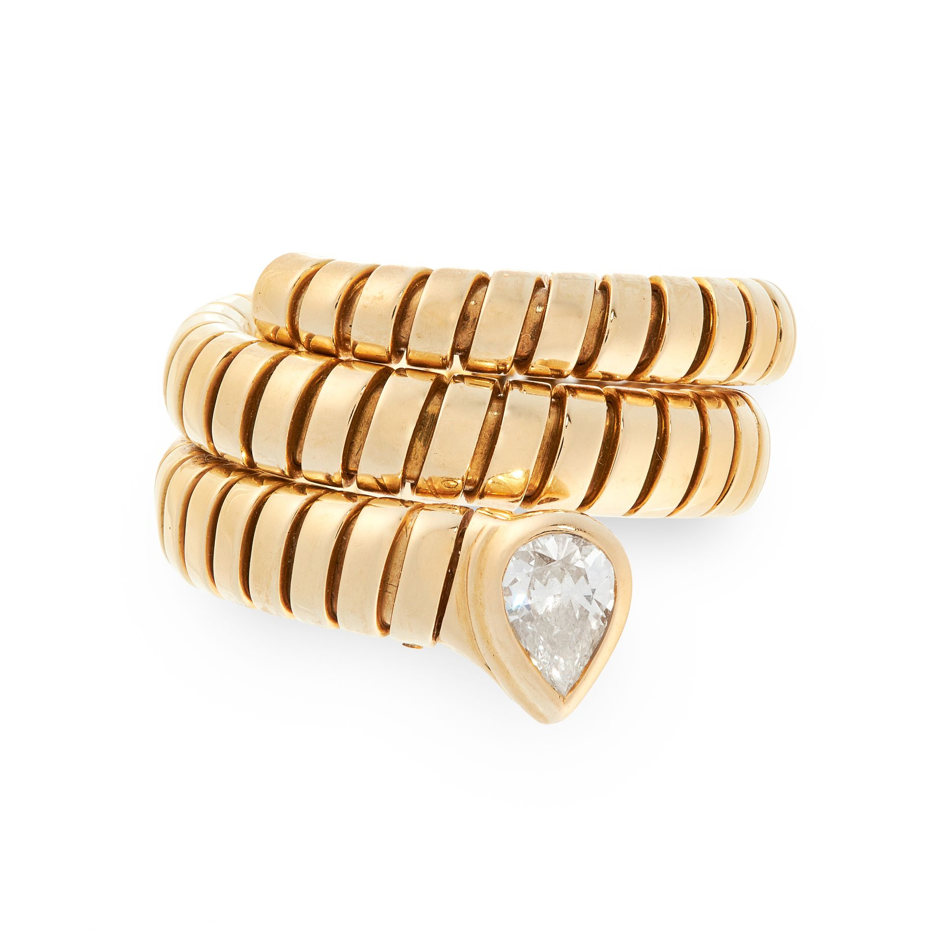 A TUBOGAS SERPENTI DIAMOND RING, BULGARI in 18ct yellow gold, designed as the body of a snake in the