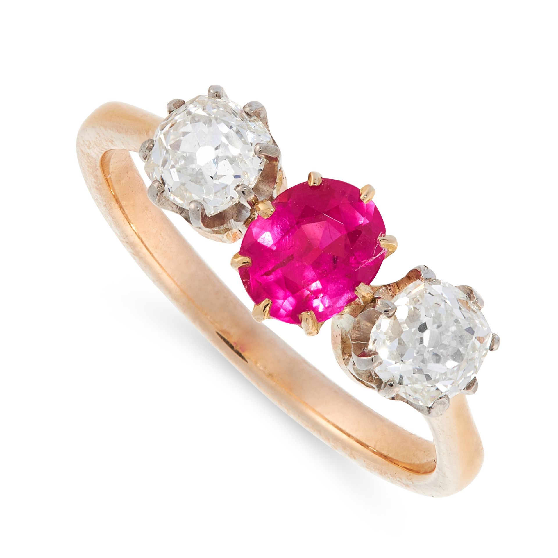 A BURMA NO HEAT RUBY AND DIAMOND DRESS RING in 18ct yellow gold, set with a cushion cut ruby of 0.76