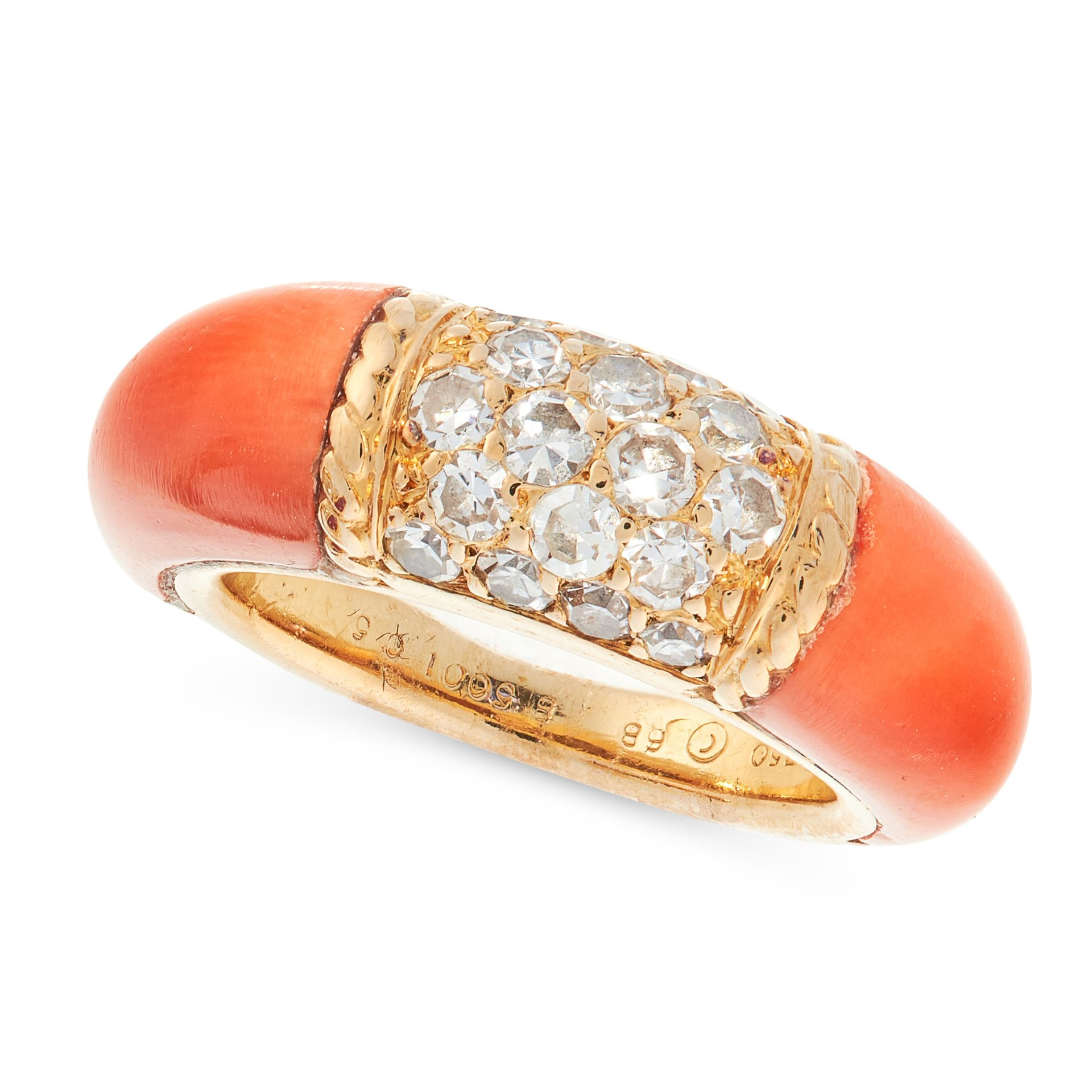 A VINTAGE DIAMOND AND CORAL PHILIPPINES DRESS RING, VAN CLEEF & ARPELS in 18ct yellow gold, set with