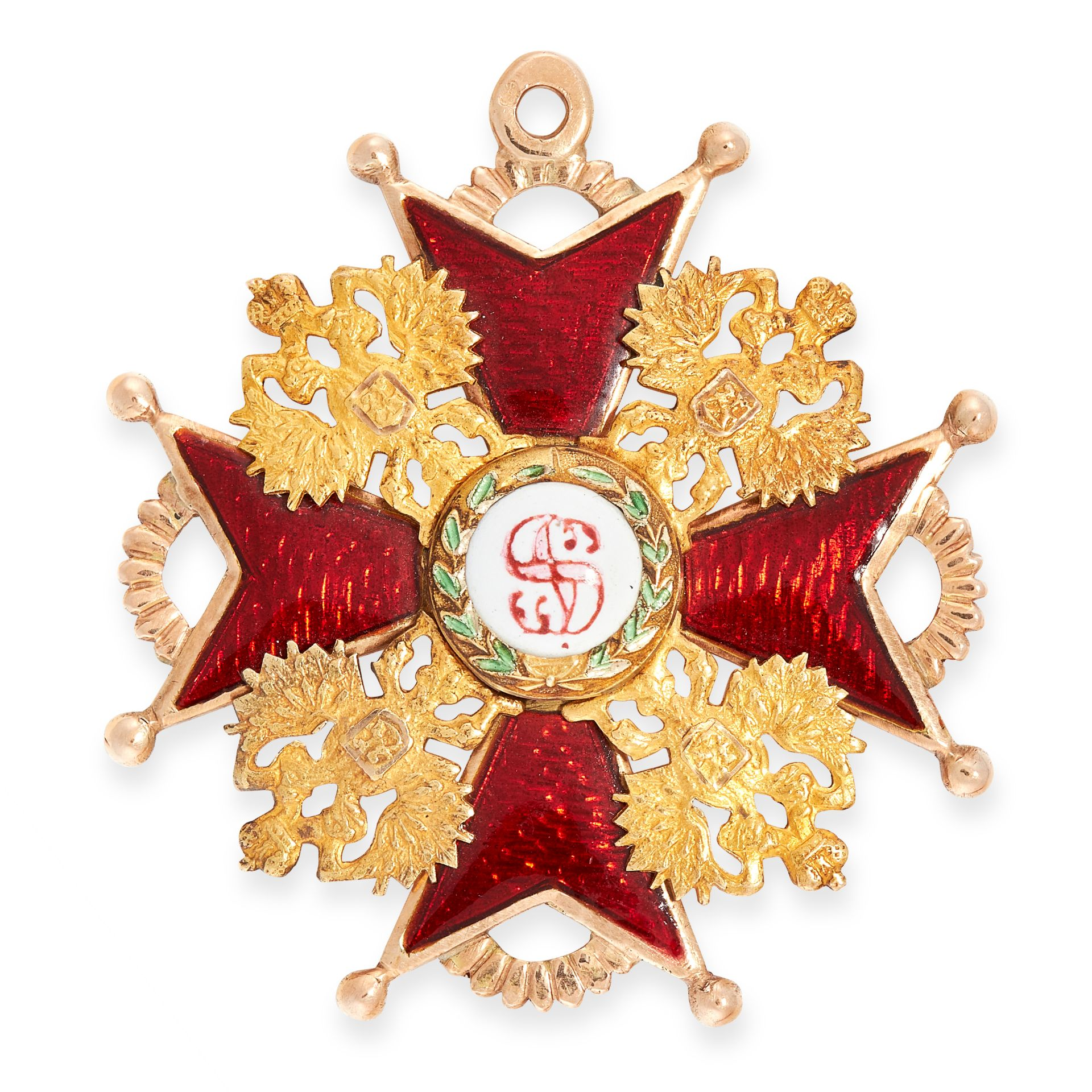 AN ANTIQUE IMPERIAL RUSSIAN ENAMEL ORDER OF ST STANISLAS MEDAL in 56 zolotnik gold, of the second