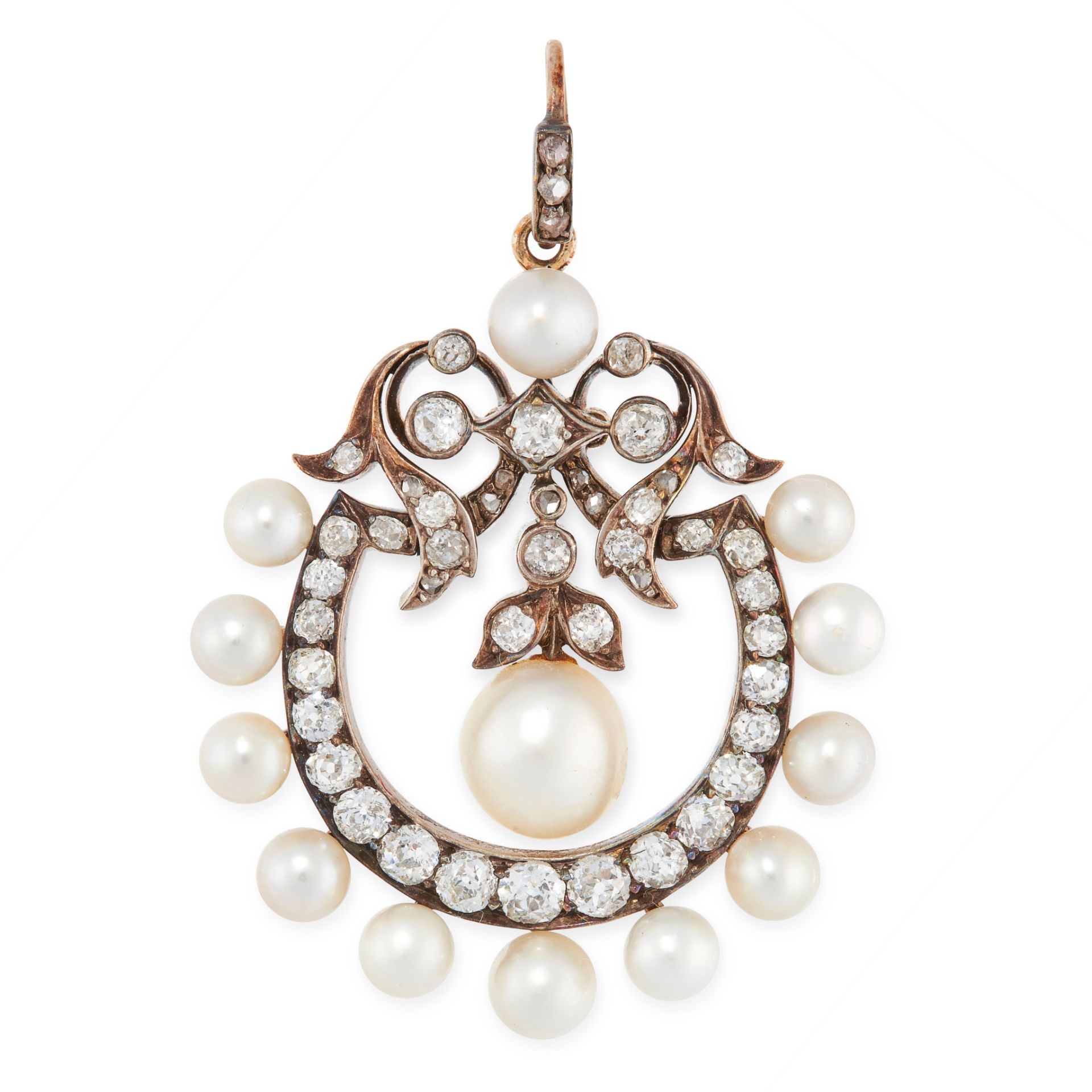 AN ANTIQUE NATURAL PEARL AND DIAMOND PENDANT, LATE 19TH CENTURY in yellow gold and silver, set