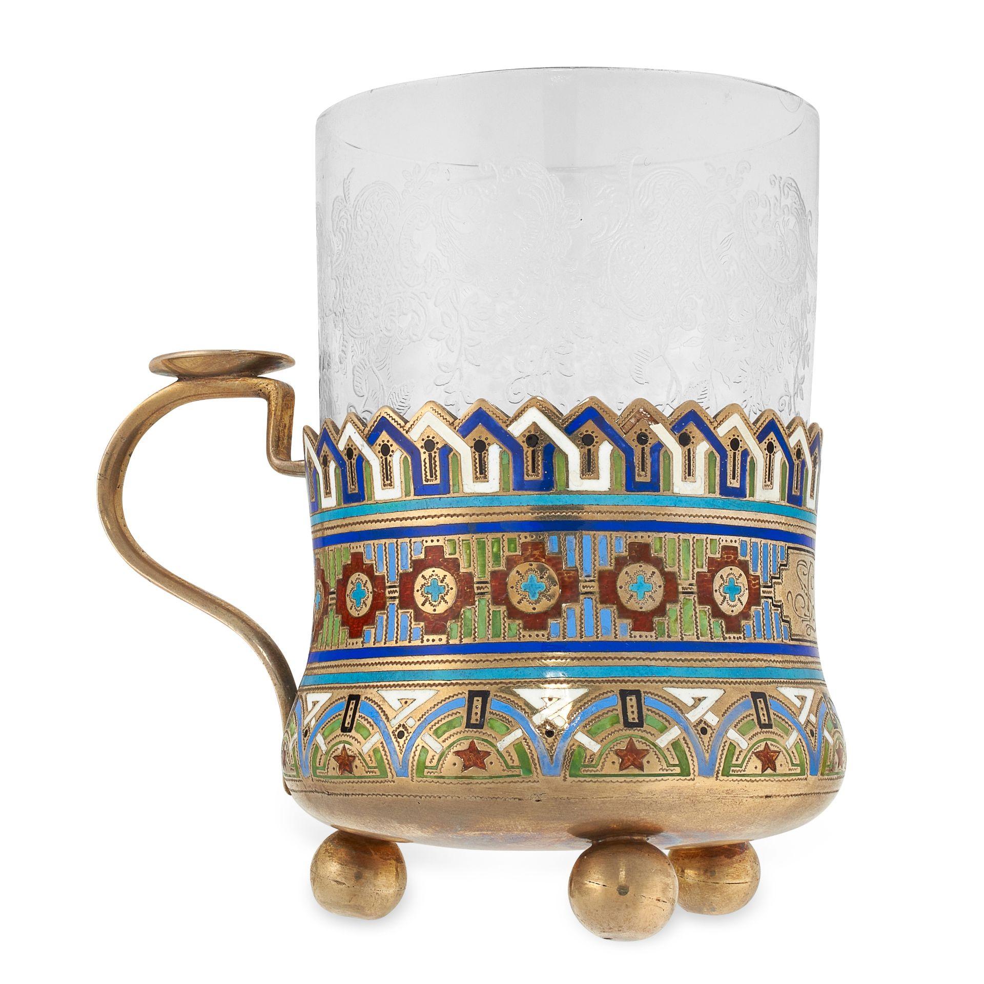 AN ANTIQUE IMPERIAL RUSSIAN ENAMEL TEA GLASS HOLDER, ANDREY BRAGIN in 84 zolotnik silver, the body