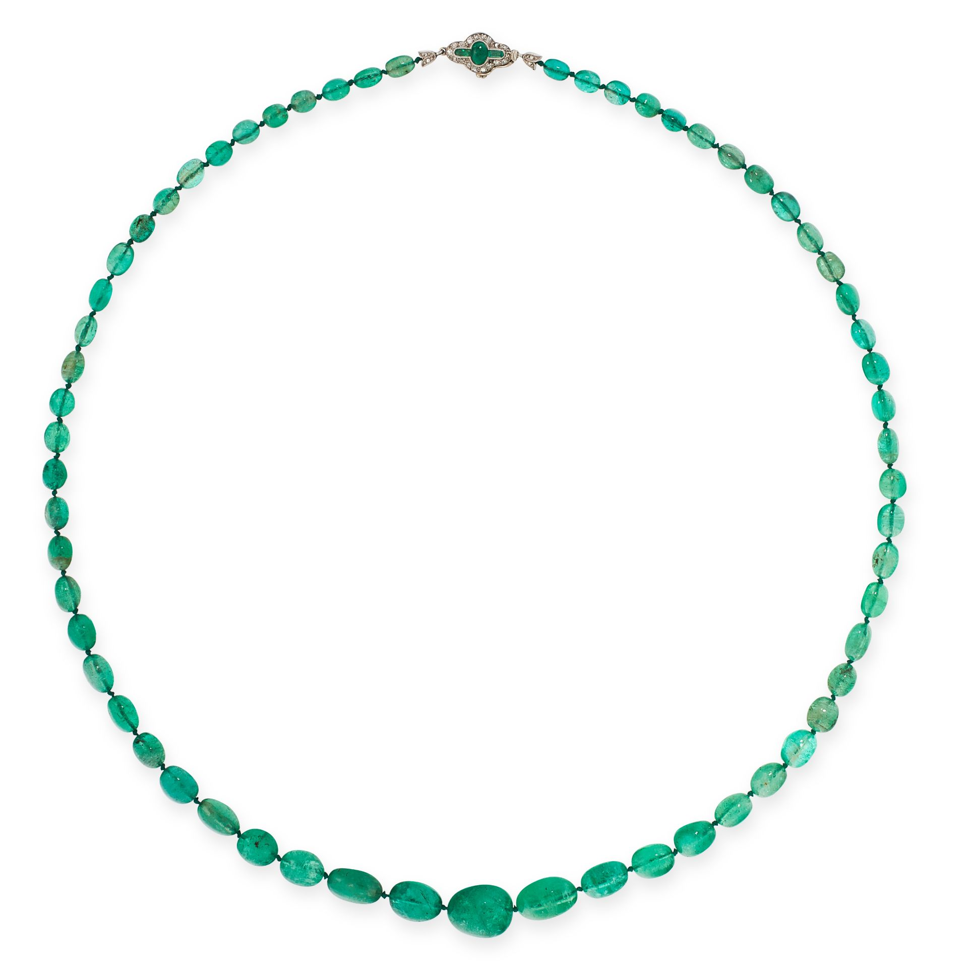 AN ART DECO EMERALD BEAD AND DIAMOND NECKLACE in white gold, comprising a single row of sixty-one