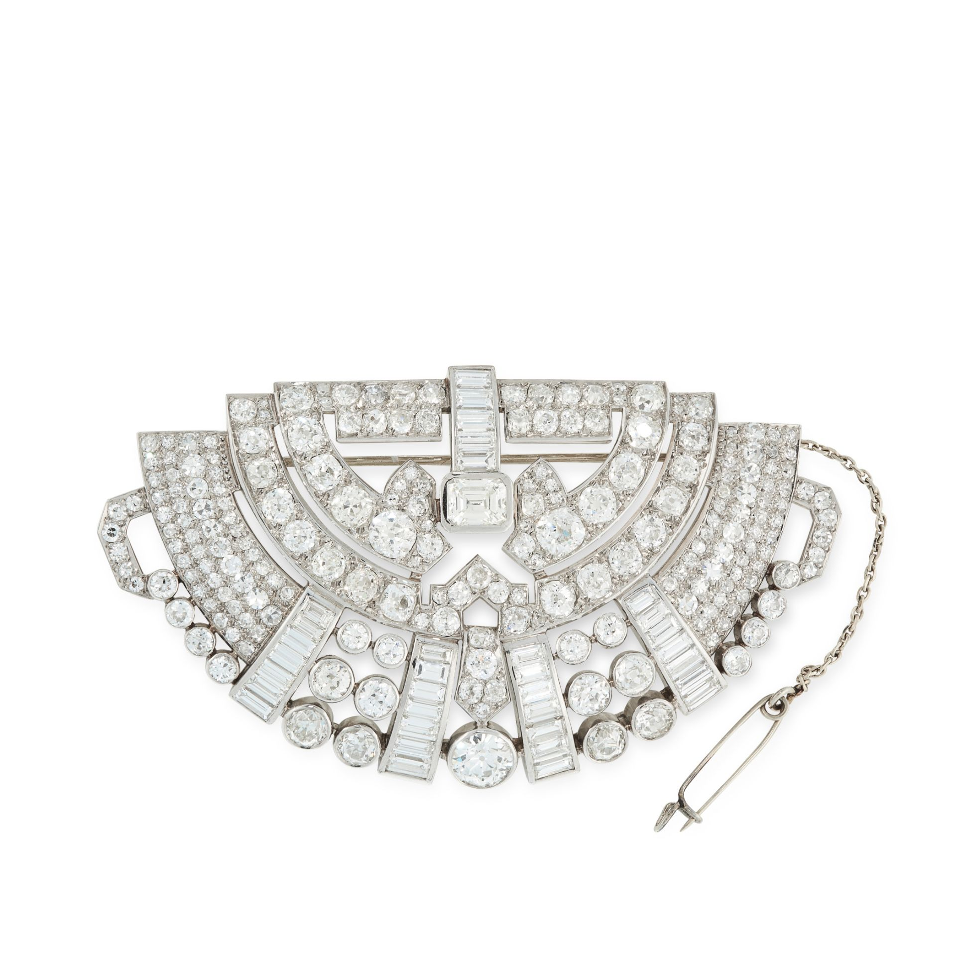 A VINTAGE DIAMOND BROOCH, CIRCA 1950 of demilune design, set with two principal diamonds, one old