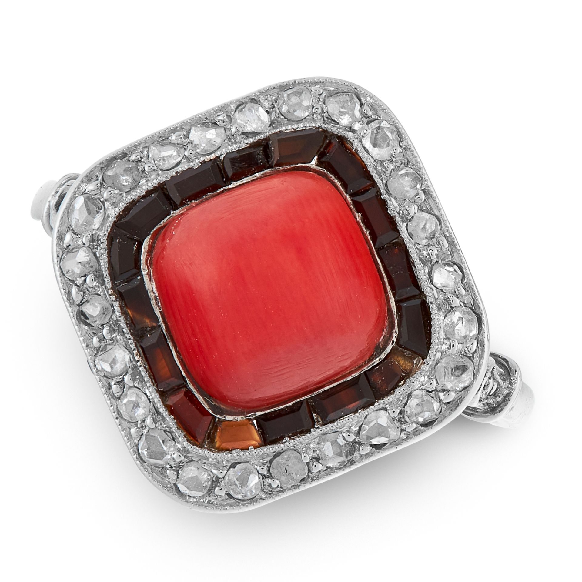 AN ART DECO CORAL, ONYX AND DIAMOND DRESS RING, EARLY 20TH CENTURY in platinum, set with a cushion