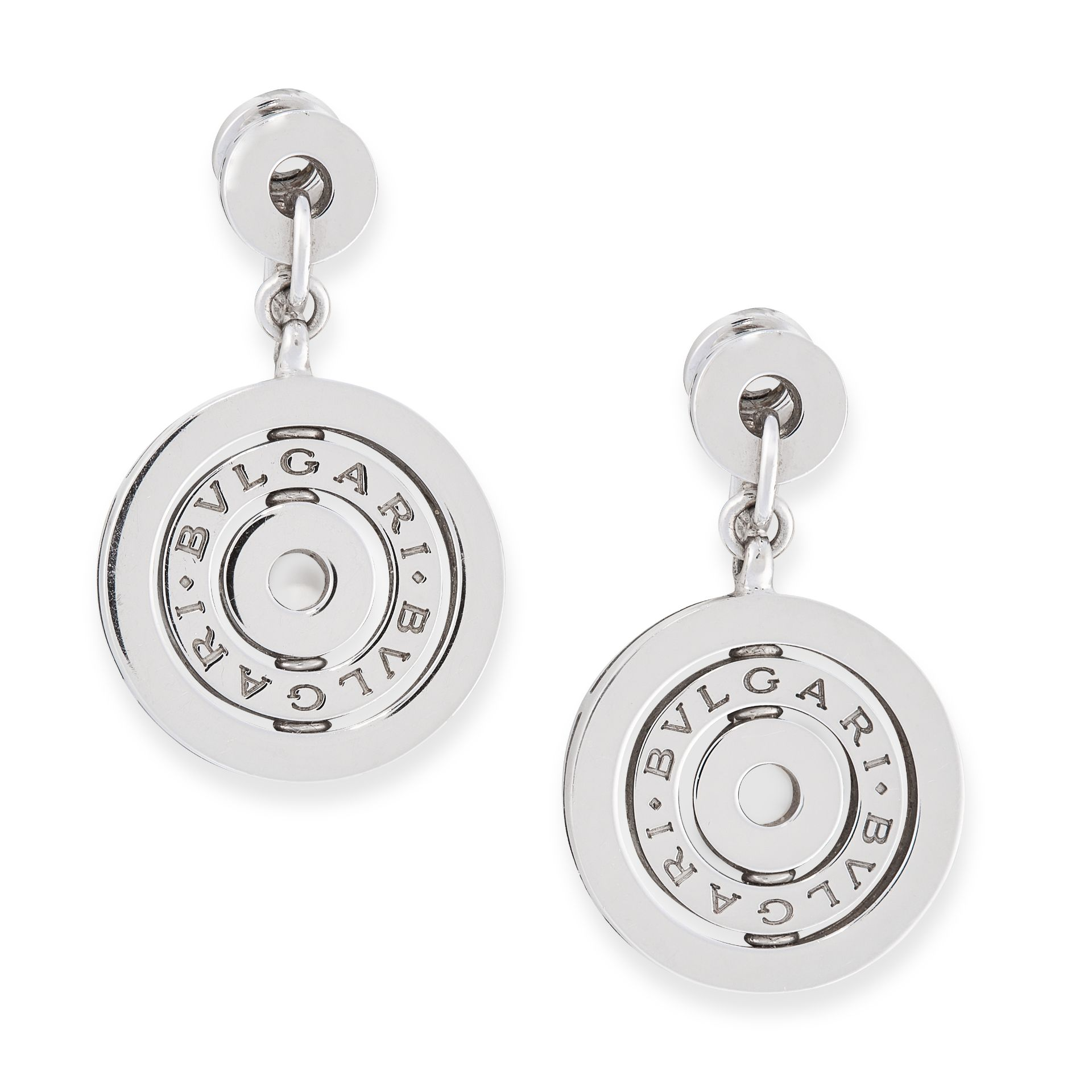 A PAIR OF ASTRAL CLIP EARRINGS, BULGARI in 18ct white gold, formed of concentric circles stamped