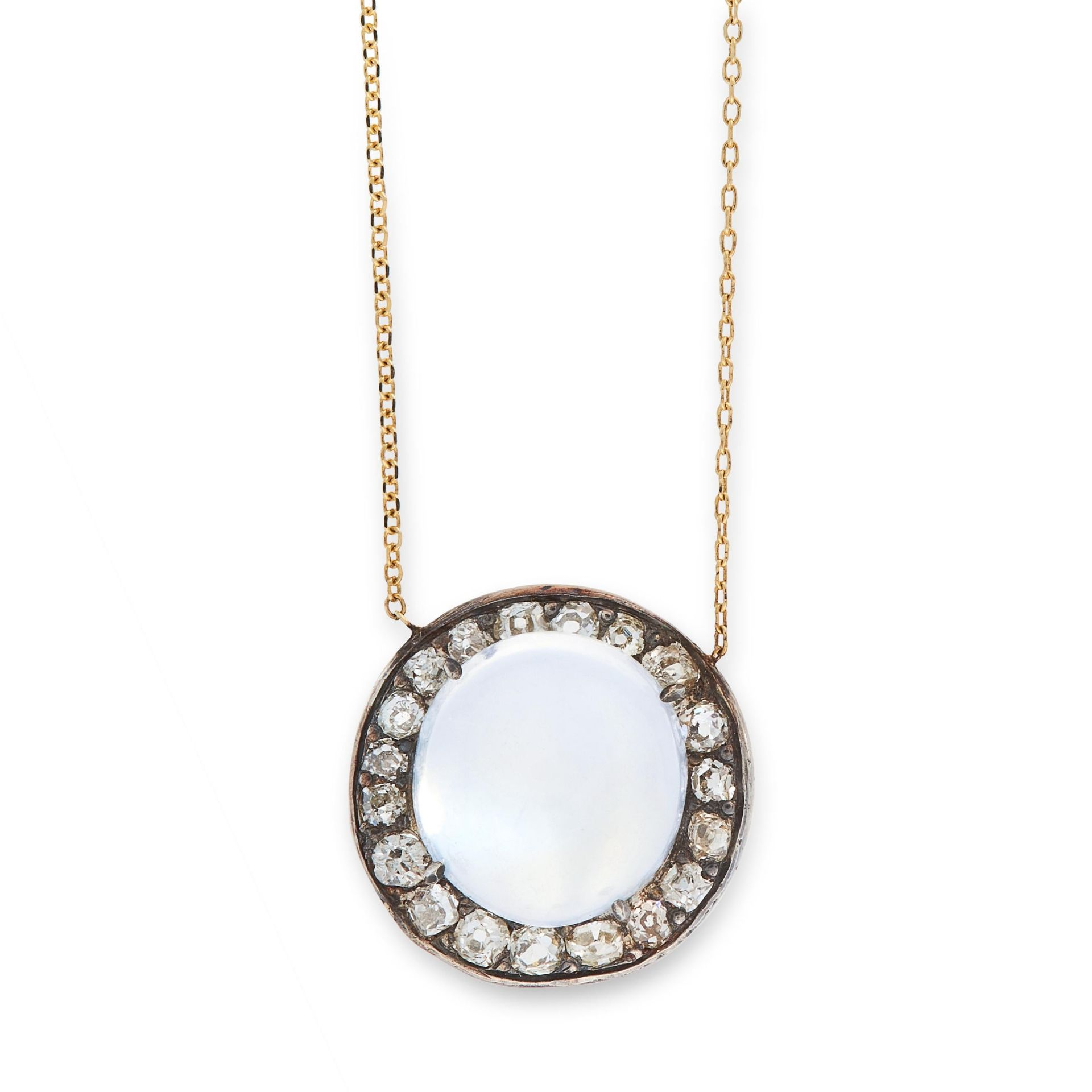 AN ANTIQUE MOONSTONE AND DIAMOND PENDANT NECKLACE in 18ct yellow gold and silver, set with a round