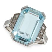 AN AQUAMARINE AND DIAMOND RING in white gold, set with an emerald cut aquamarine of 5.72 carats,