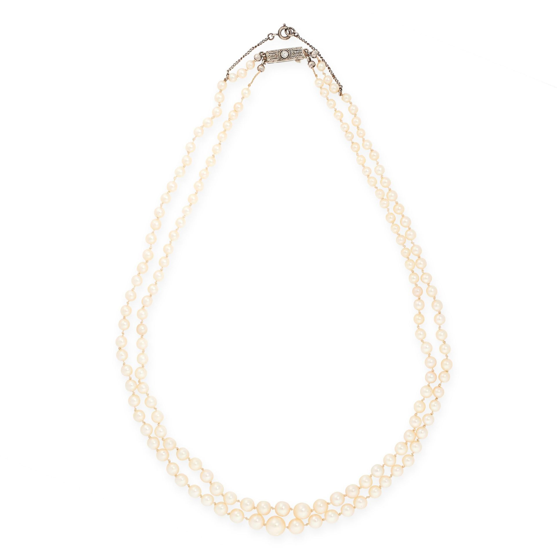 A PEARL AND DIAMOND NECKLACE, CIRCA 1940 in 18ct white gold, comprising two rows of one hundred