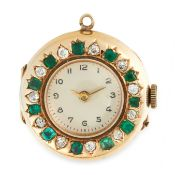 AN EMERALD AND DIAMOND POCKET / FOB WATCH in 18ct yellow gold, comprising of a white dial enclosed