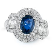 A SAPPHIRE AND DIAMOND DRESS RING in 18ct white gold, set with an oval cut sapphire of 1.41
