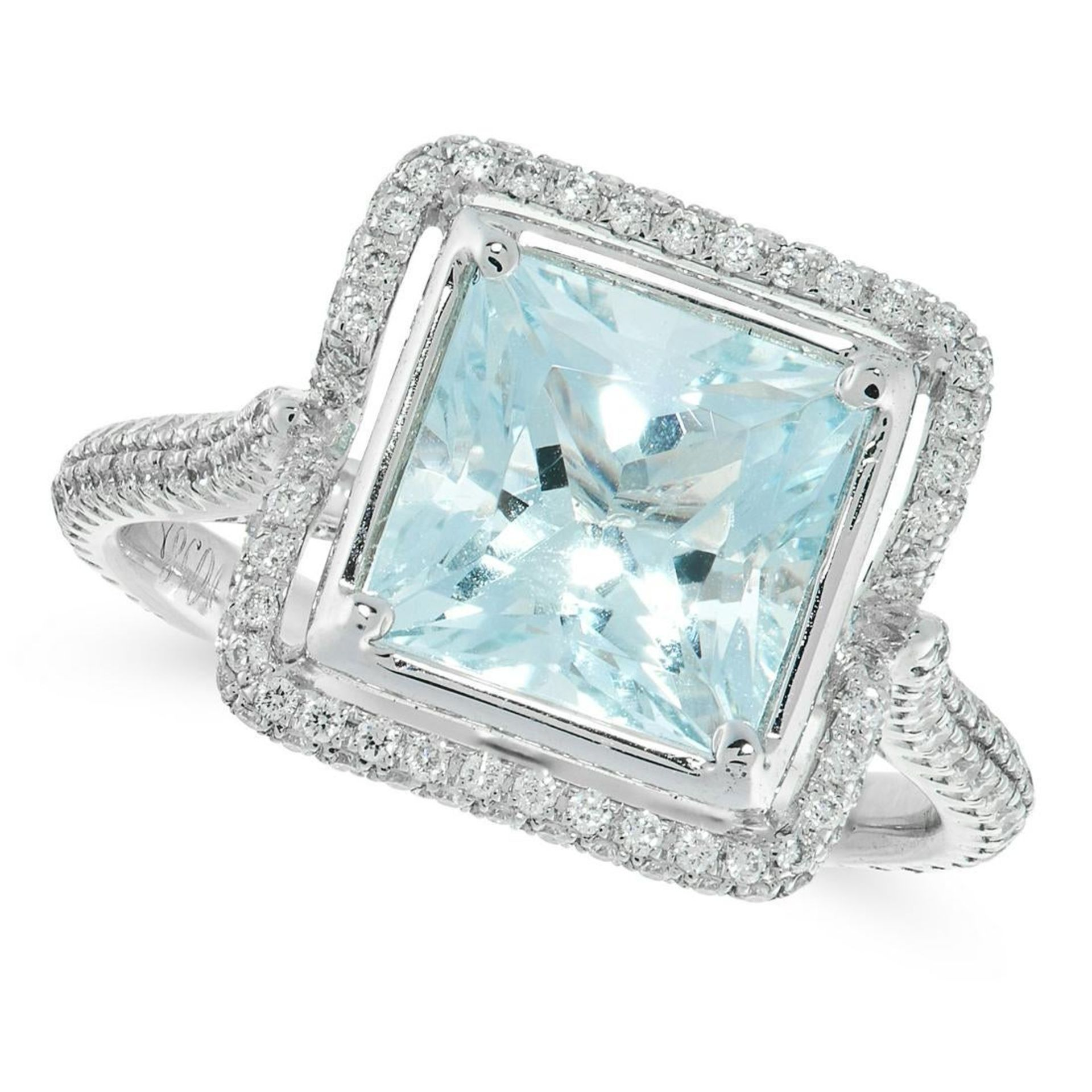 AN AQUAMARINE AND DIAMOND DRESS RING in 18ct white gold, set with a princess cut aquamarine of 2.