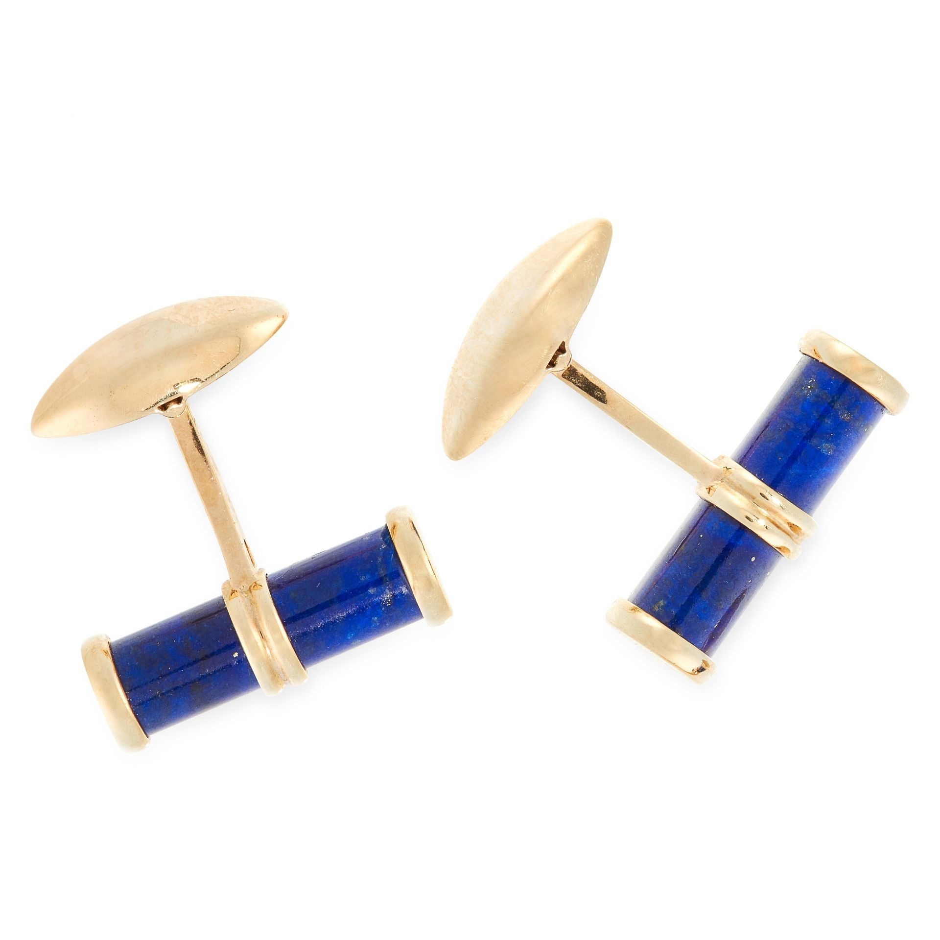 A PAIR OF VINTAGE LAPIS LAZULI CUFFLINKS, 1949 in yellow gold, each set with a polished baton of