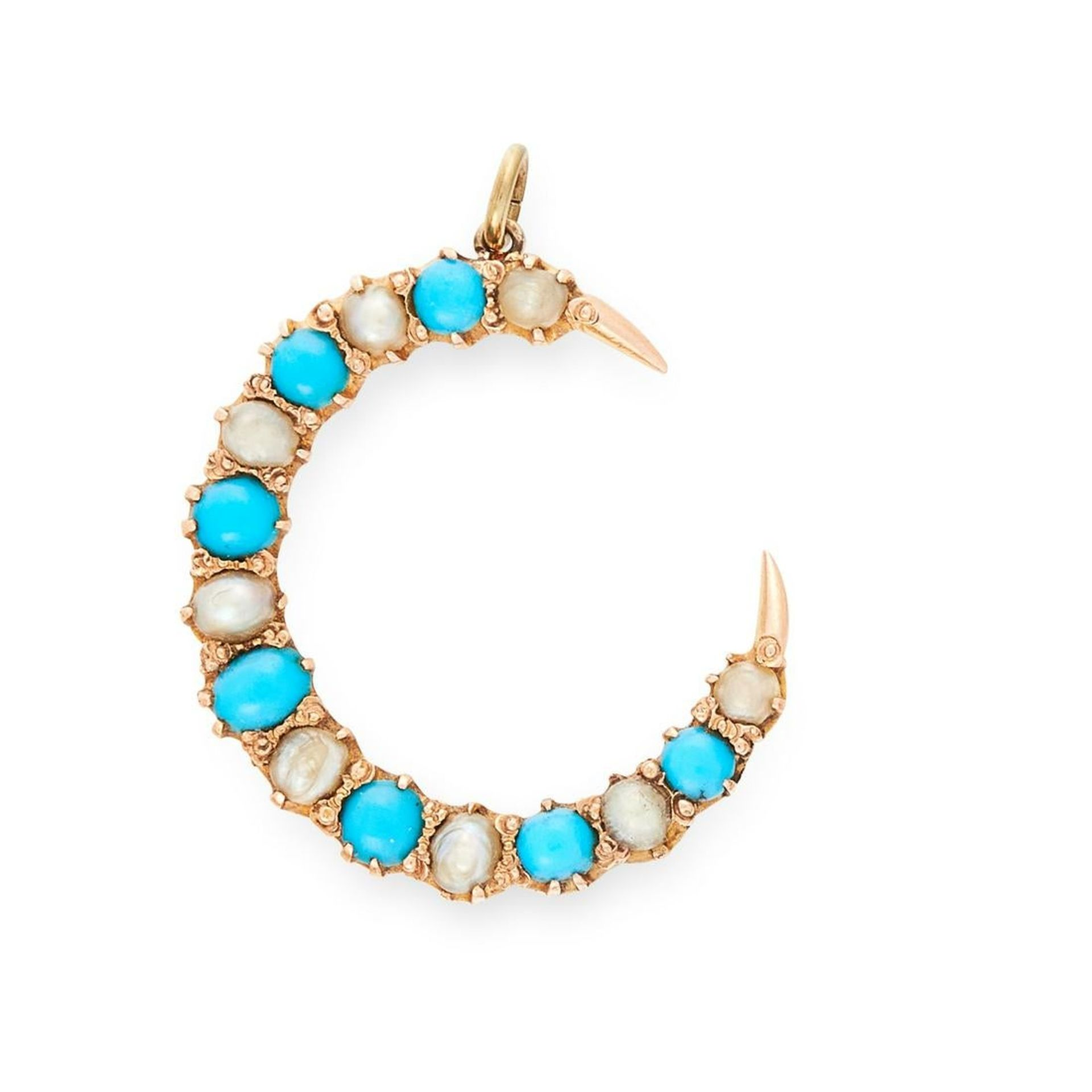 AN ANTIQUE TURQUOISE AND PEARL CRESCENT MOON PENDANT, 19TH CENTURY in yellow gold, set with