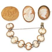 A MIXED LOT OF THREE CAMEO BROOCHES AND A BRACELET including two shell cameo brooches, a lava