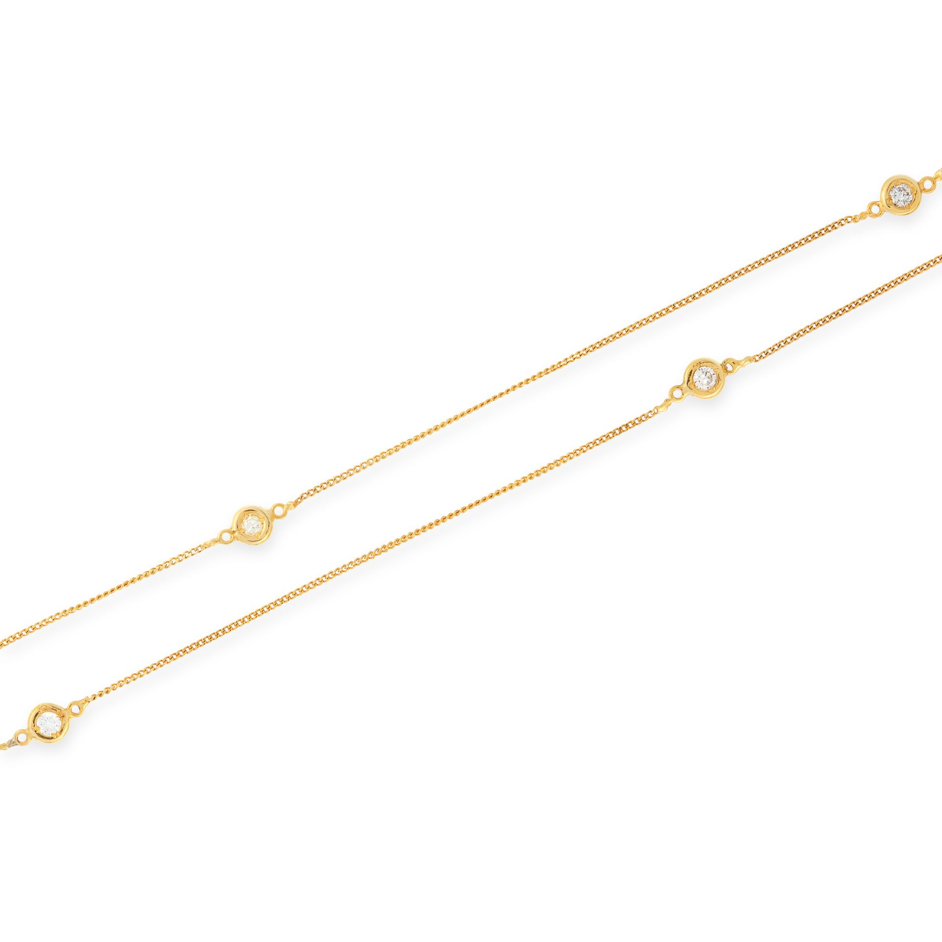 A DIAMOND LONG CHAIN NECKLACE in 15ct yellow gold, set with fifteen round cut diamonds totalling 1. - Bild 2 aus 2