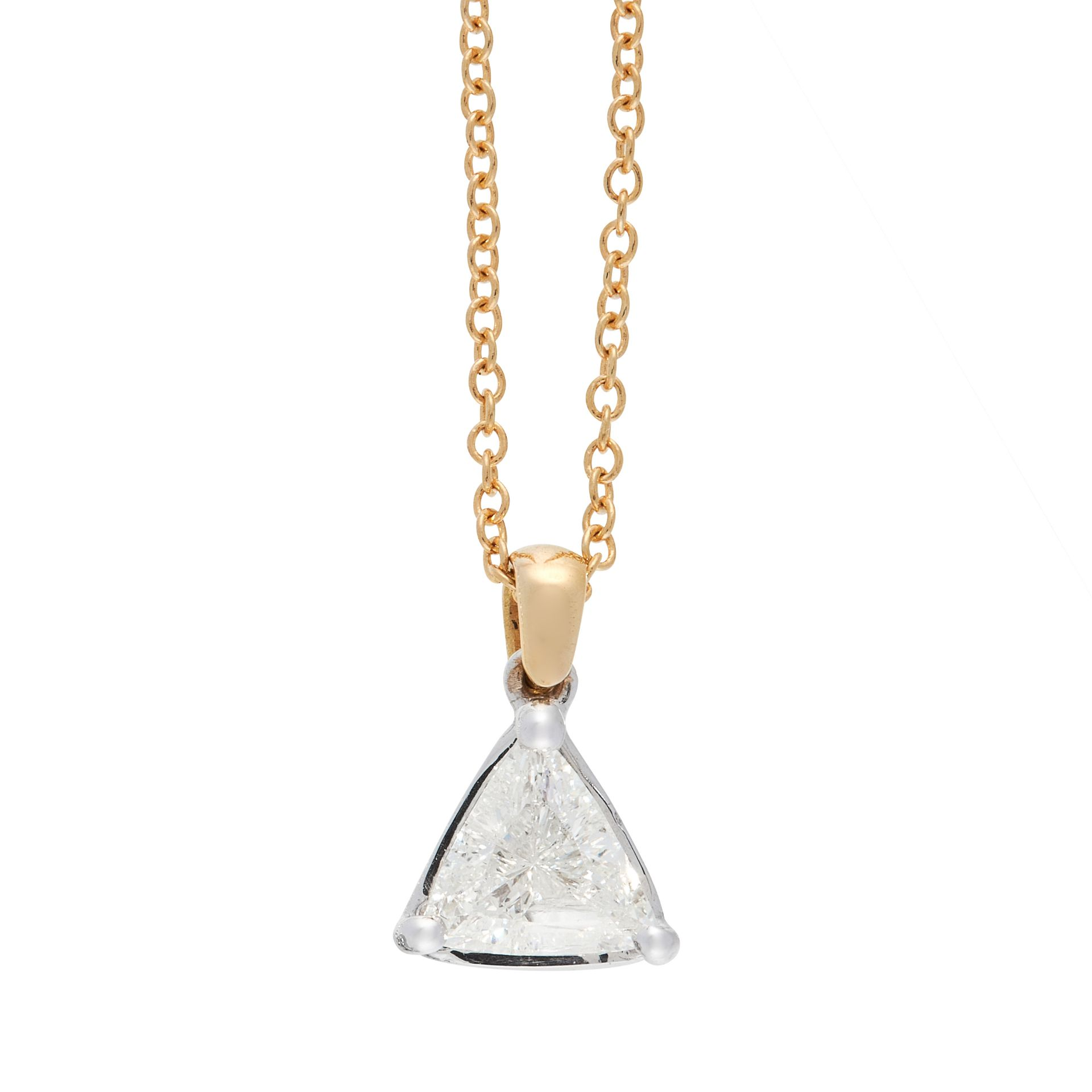 A DIAMOND PENDANT AND CHAIN in 18ct gold, set with a trillion cut diamond of 0.95 carats, stamped