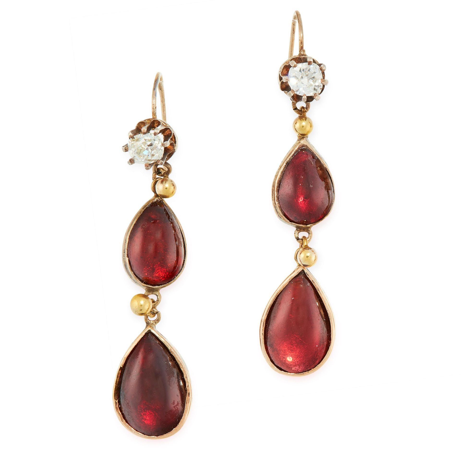 A PAIR OF ANTIQUE GARNET AND DIAMOND DROP EARRINGS, 19TH CENTURY in yellow gold, set with pear