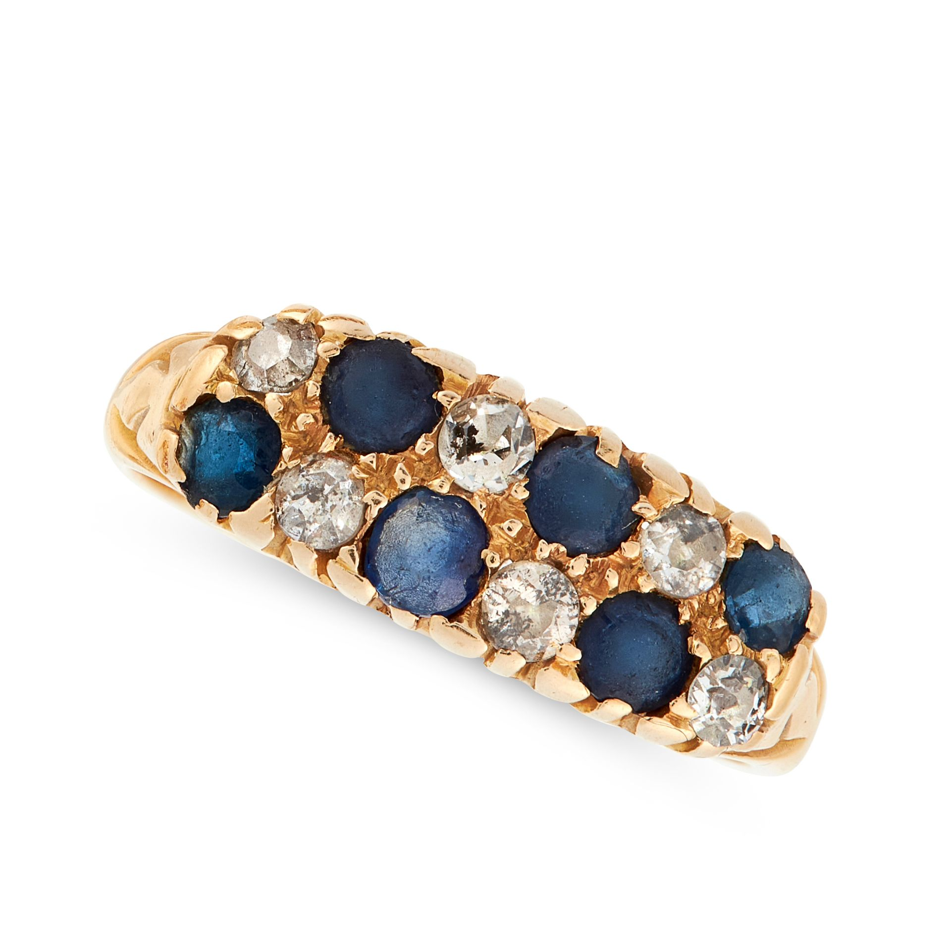 A SAPPHIRE AND DIAMOND RING in 18ct yellow gold, the panel face is set with two rows of
