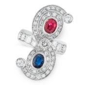 A SAPPHIRE, RUBY AND DIAMOND DRESS RING in 18ct white gold, set with an oval cut ruby and an oval