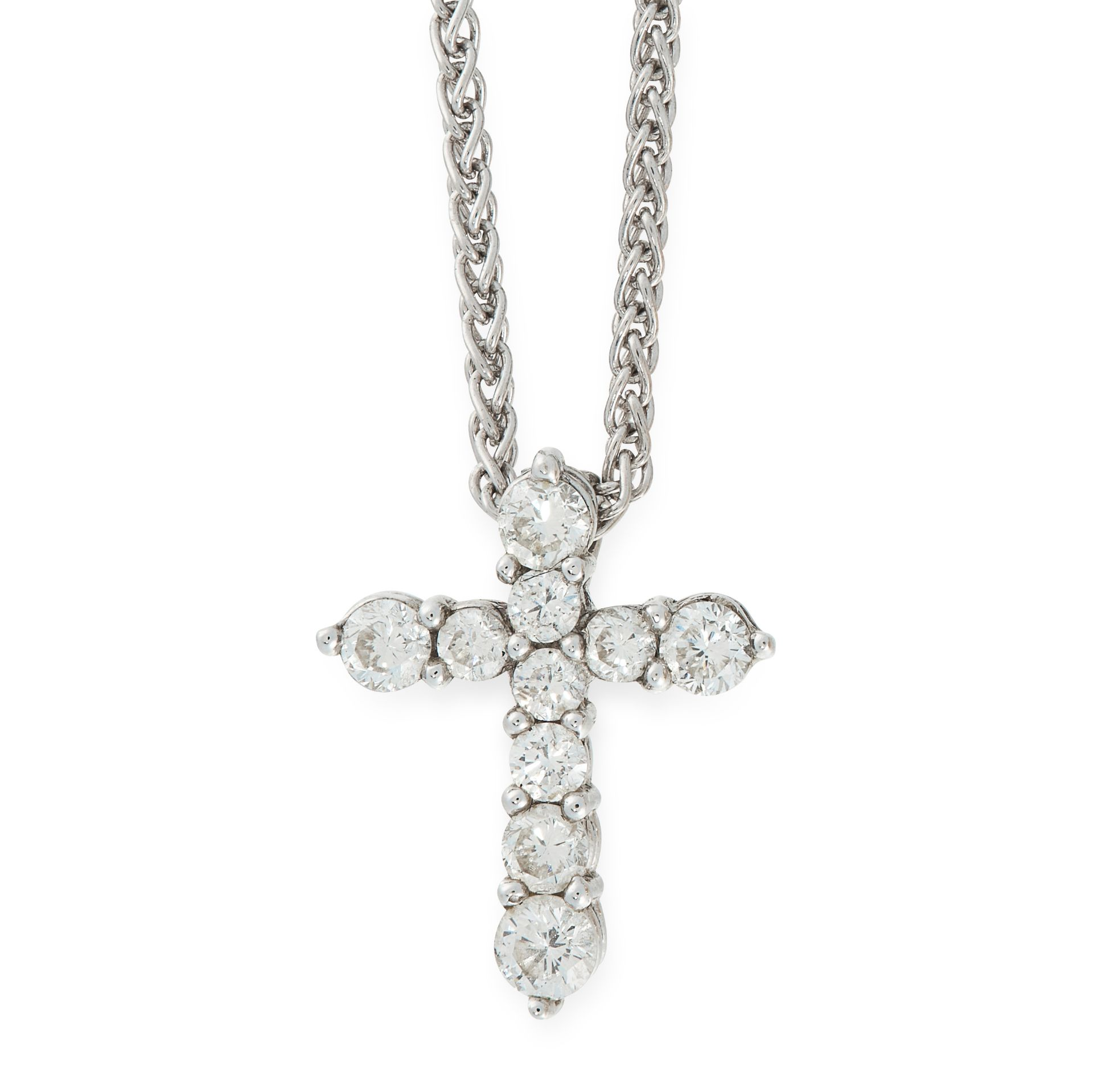 A DIAMOND CROSS PENDANT AND CHAIN in white gold, the cross is set with round cut diamonds