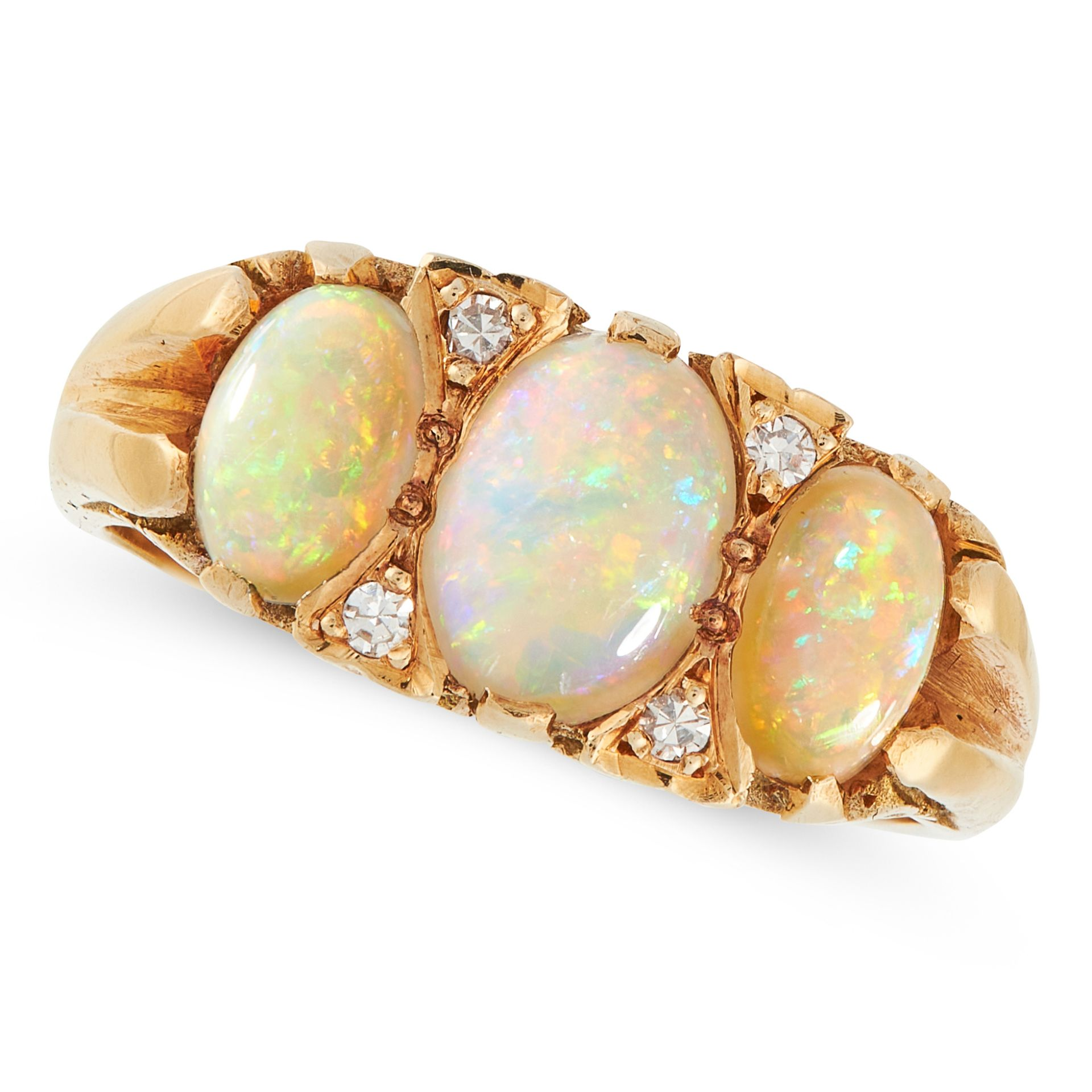 AN OPAL AND DIAMOND DRESS RING in 18ct yellow gold, set with three cabochon opals accented by rose