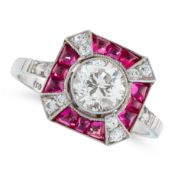 A RUBY AND DIAMOND DRESS RING in platinum, in Art Deco design, set with a round cut diamond of
