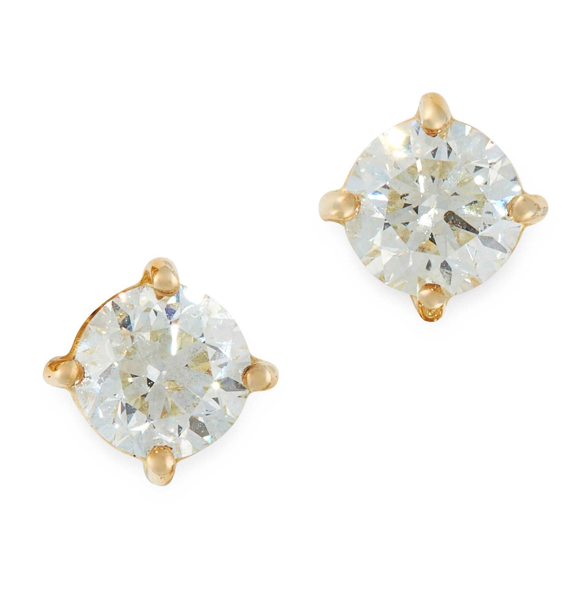A PAIR OF DIAMOND STUD EARRINGS in 18ct yellow gold, each set with a round cut diamond, all