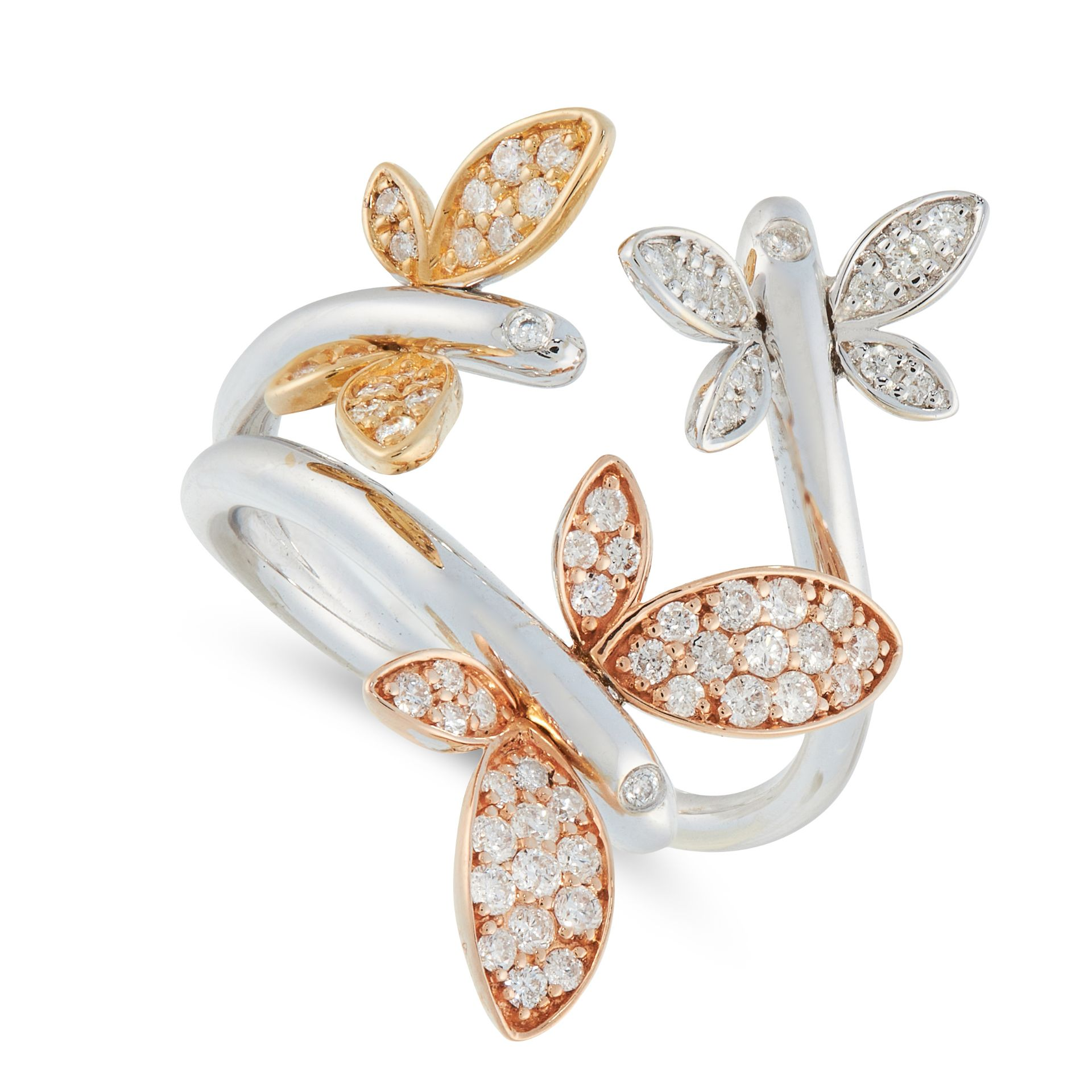 A DIAMOND BUTTERFLY RING in tri colour 18ct gold, in open band design, set with three butterfly