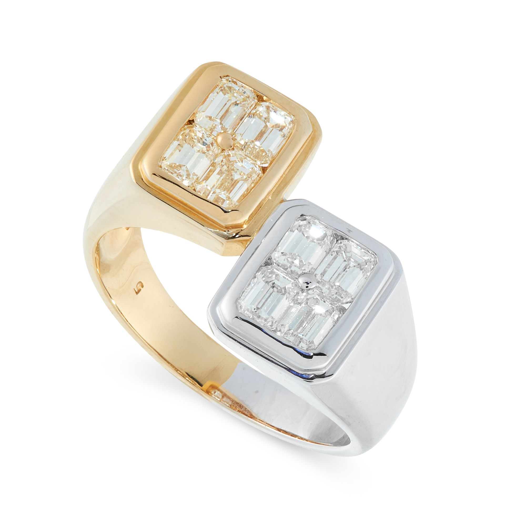A DIAMOND DRESS RING in 18ct yellow and white gold, in open band design, half the ring is in white