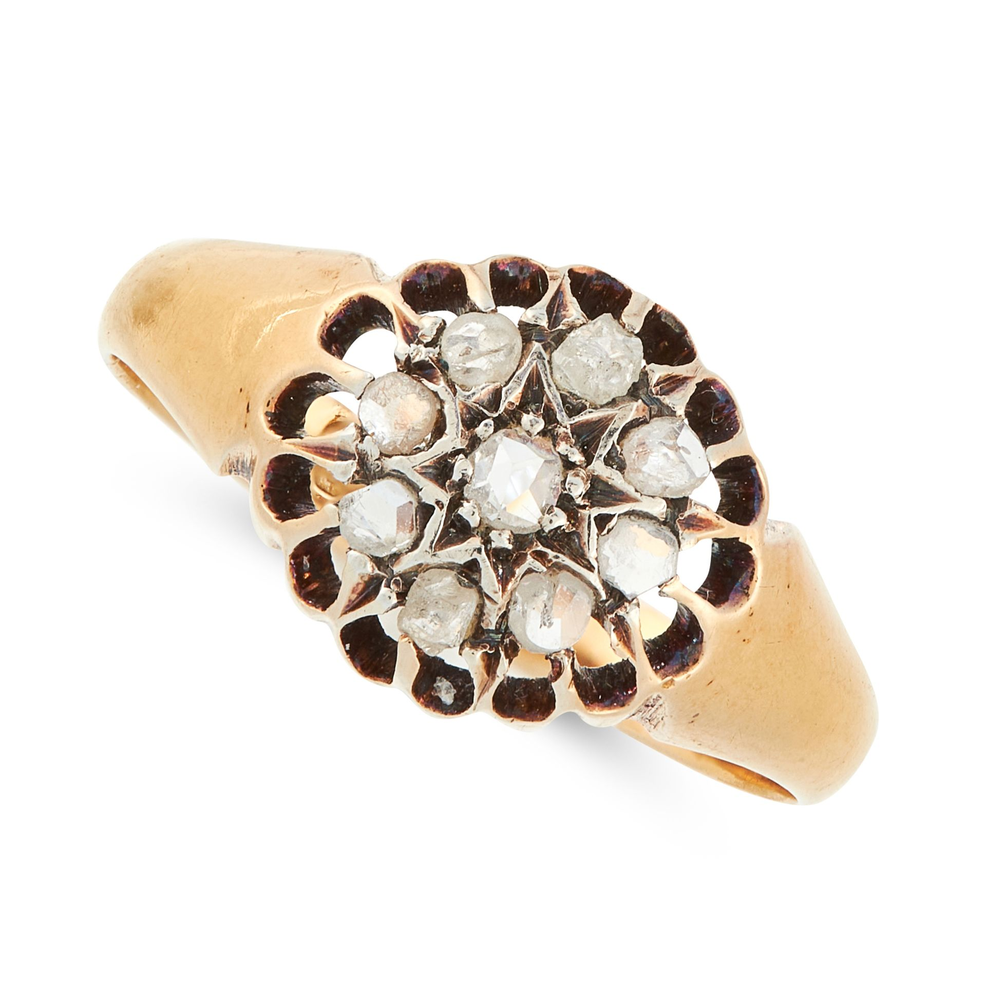 A DIAMOND CLUSTER DRESS RING in 18ct yellow gold, set with a central cluster of rose cut diamonds,