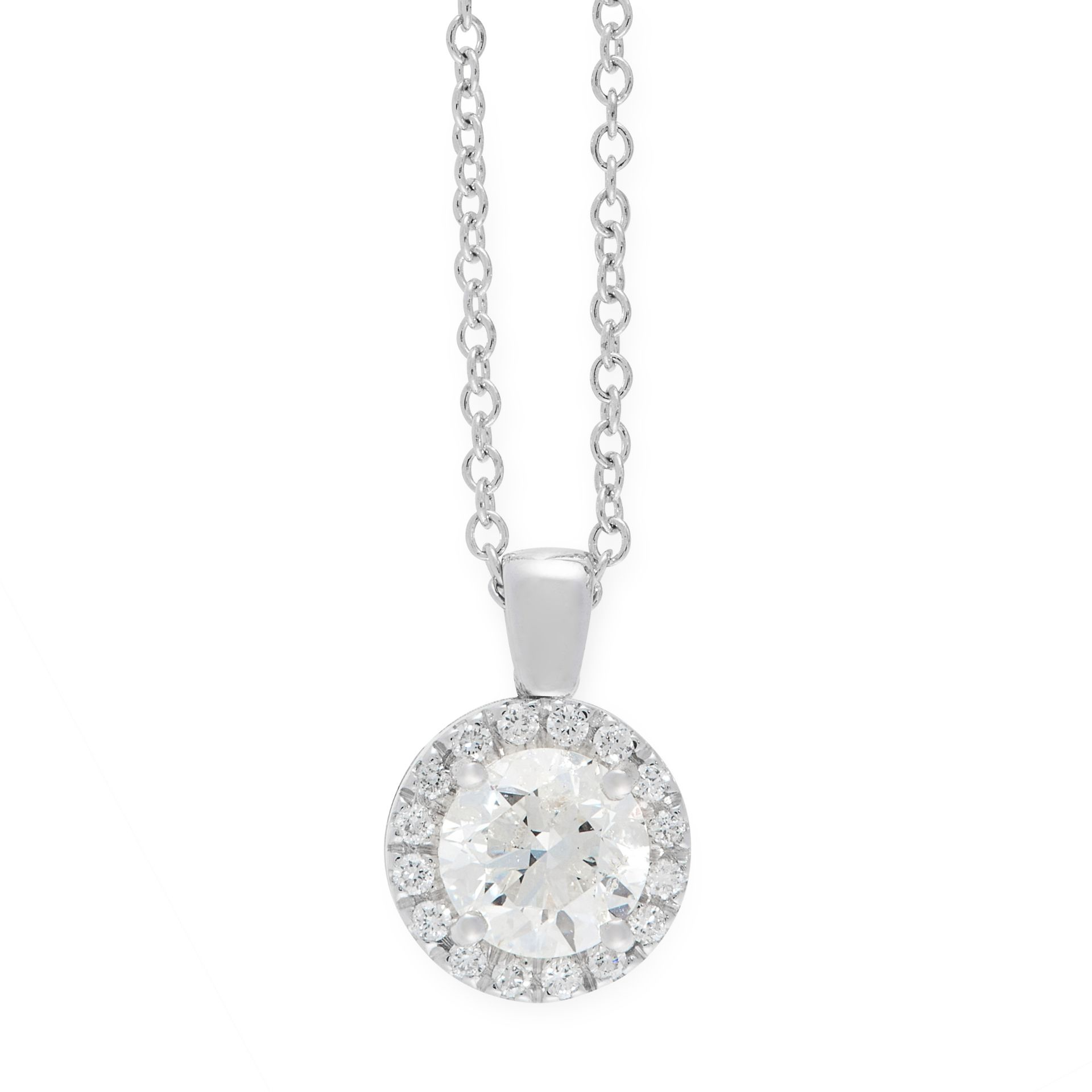 A DIAMOND PENDANT AND CHAIN in 18ct white gold, comprising of a central round cut diamond of 0.87