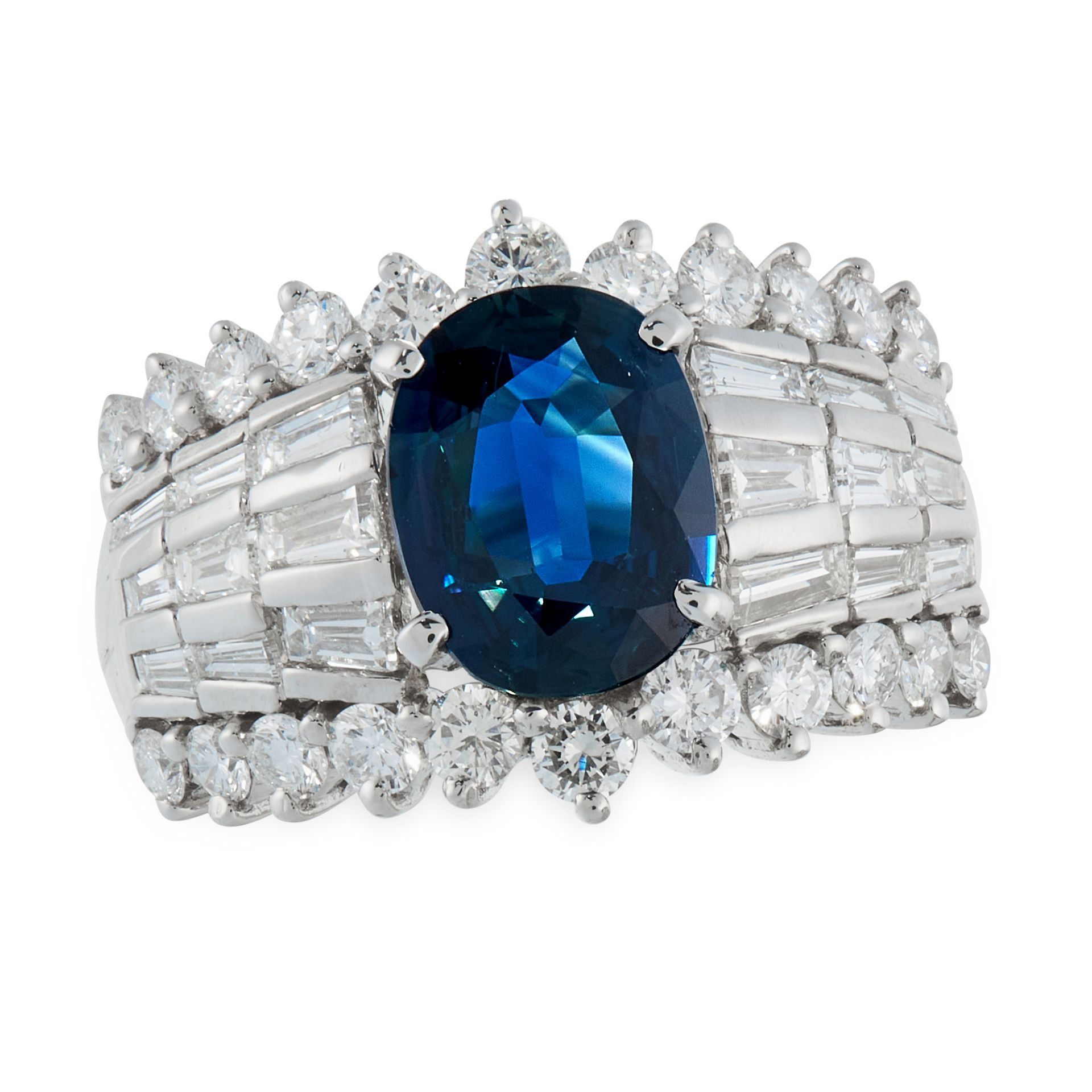 AN UNHEATED SAPPHIRE AND DIAMOND DRESS RING in platinum, set with an oval cut sapphire of 1.87